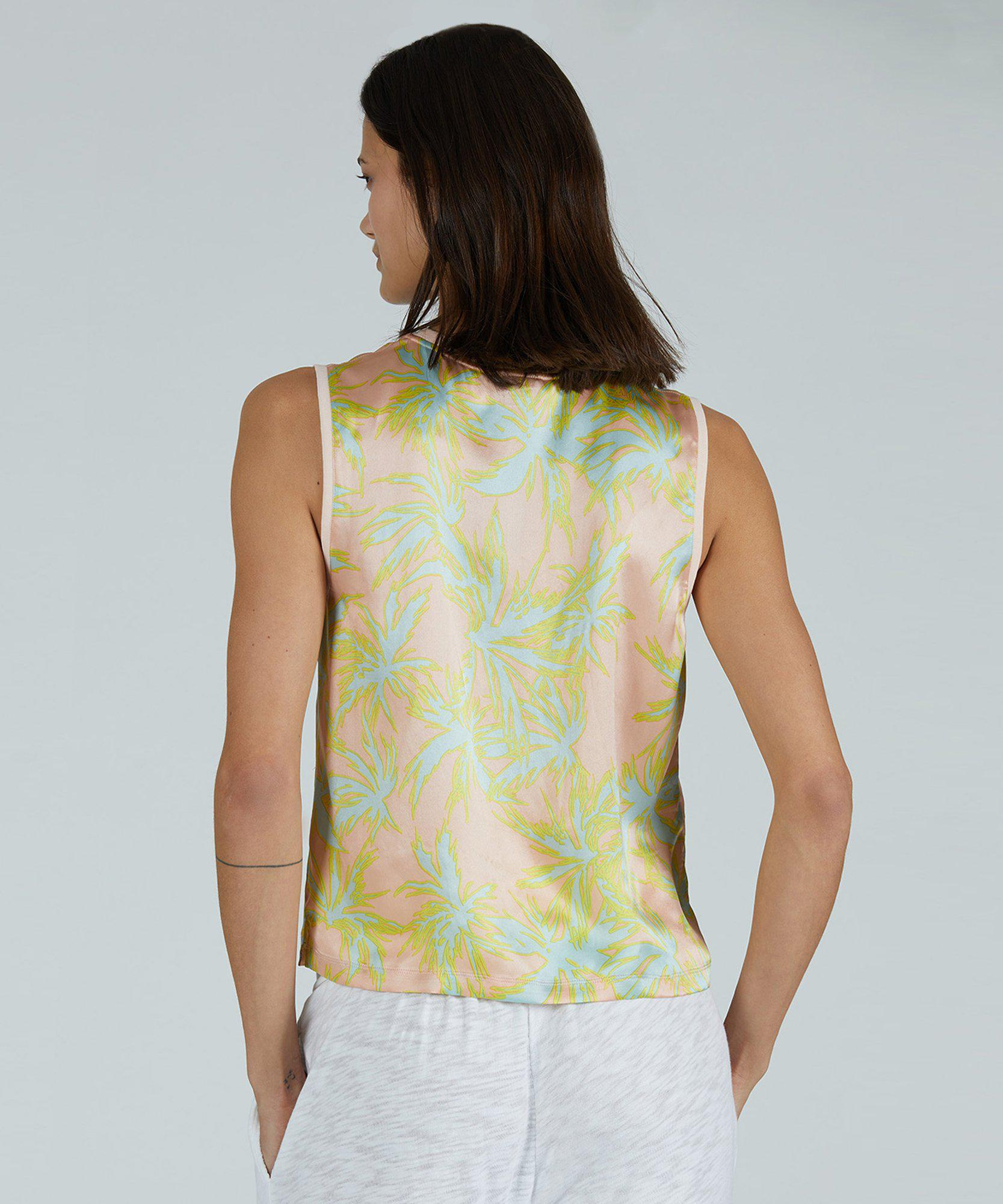 Palm Print Silk Charmeuse Cropped Muscle Tee - Shell Combo 2