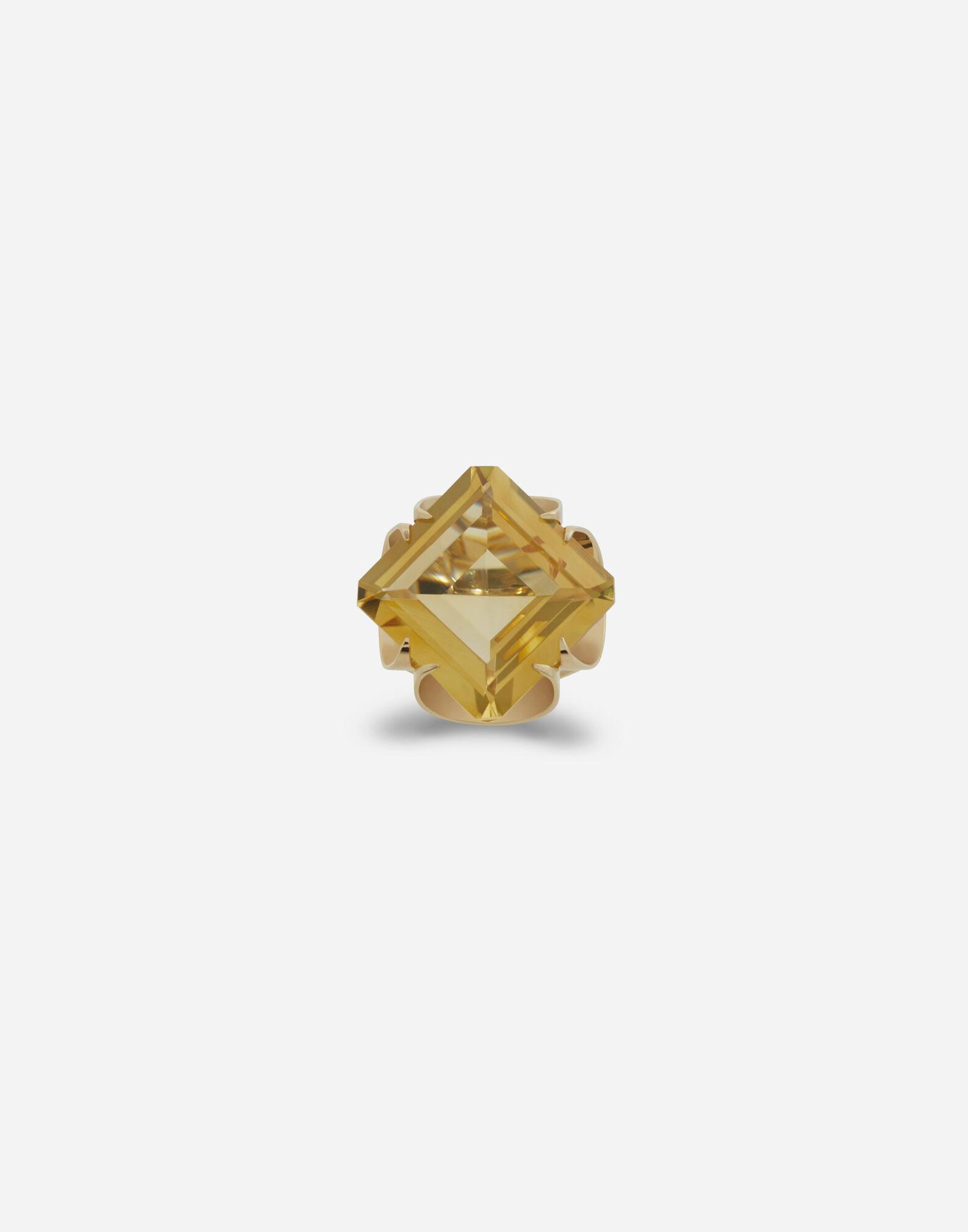 Anna ring in yellow gold and citrine quartz