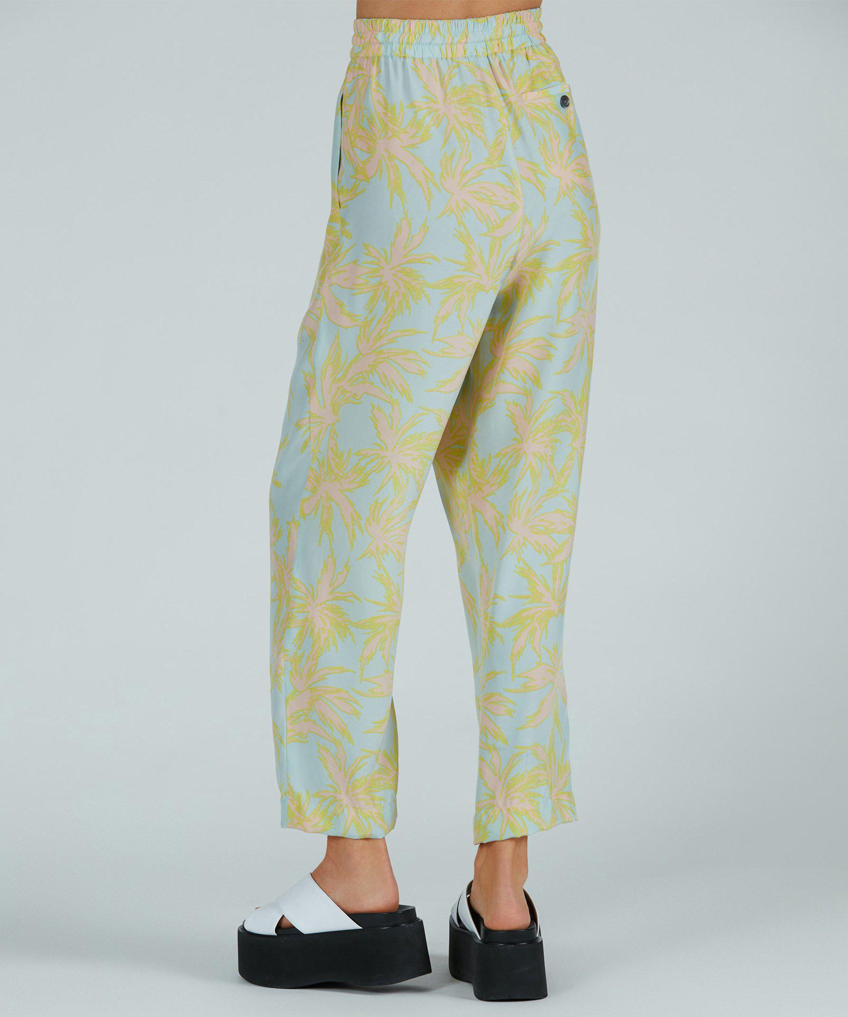 Palm Print Silk Charmeuse Pull-On Pant - Surf Combo 2