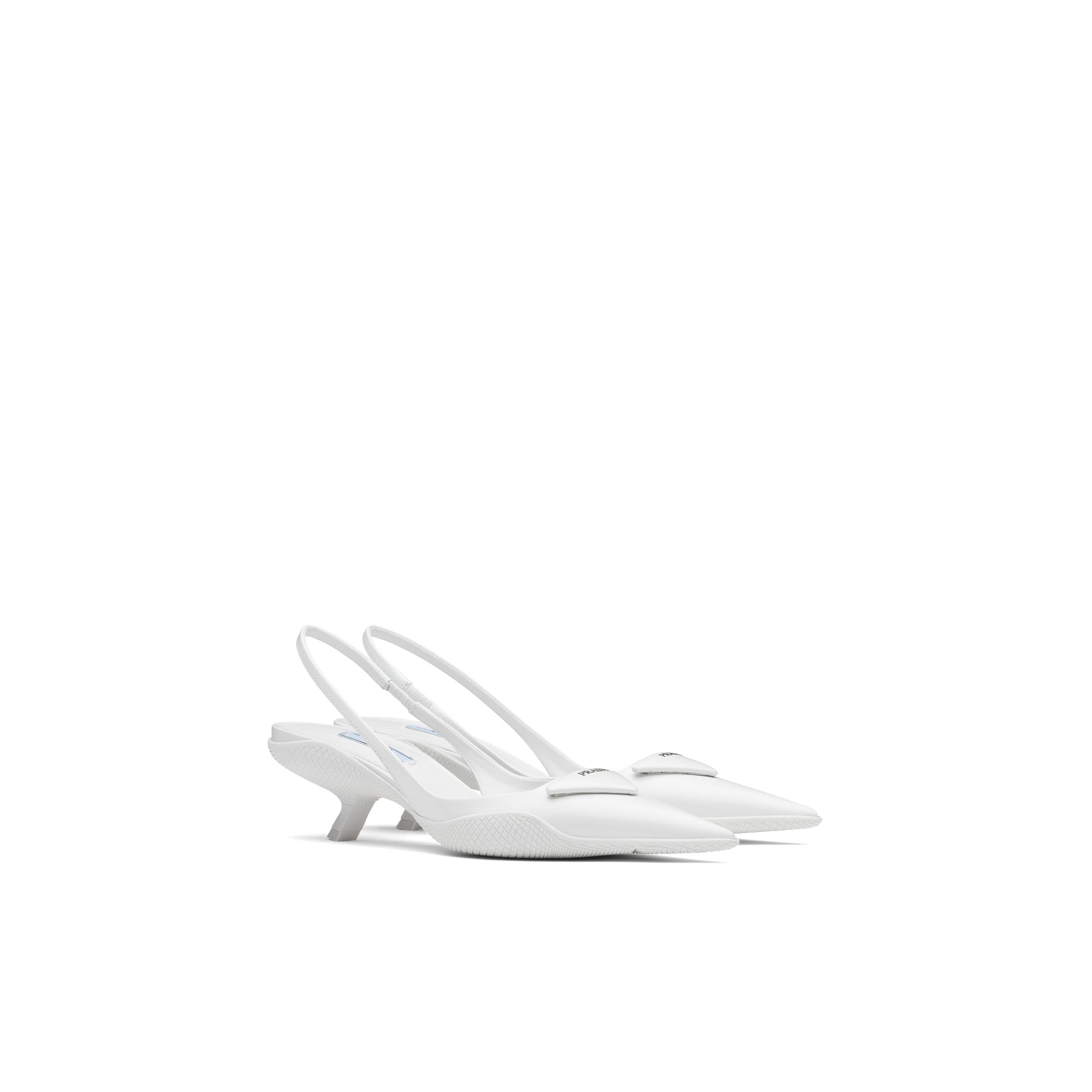 Brushed Leather Slingback Pumps Women White 0