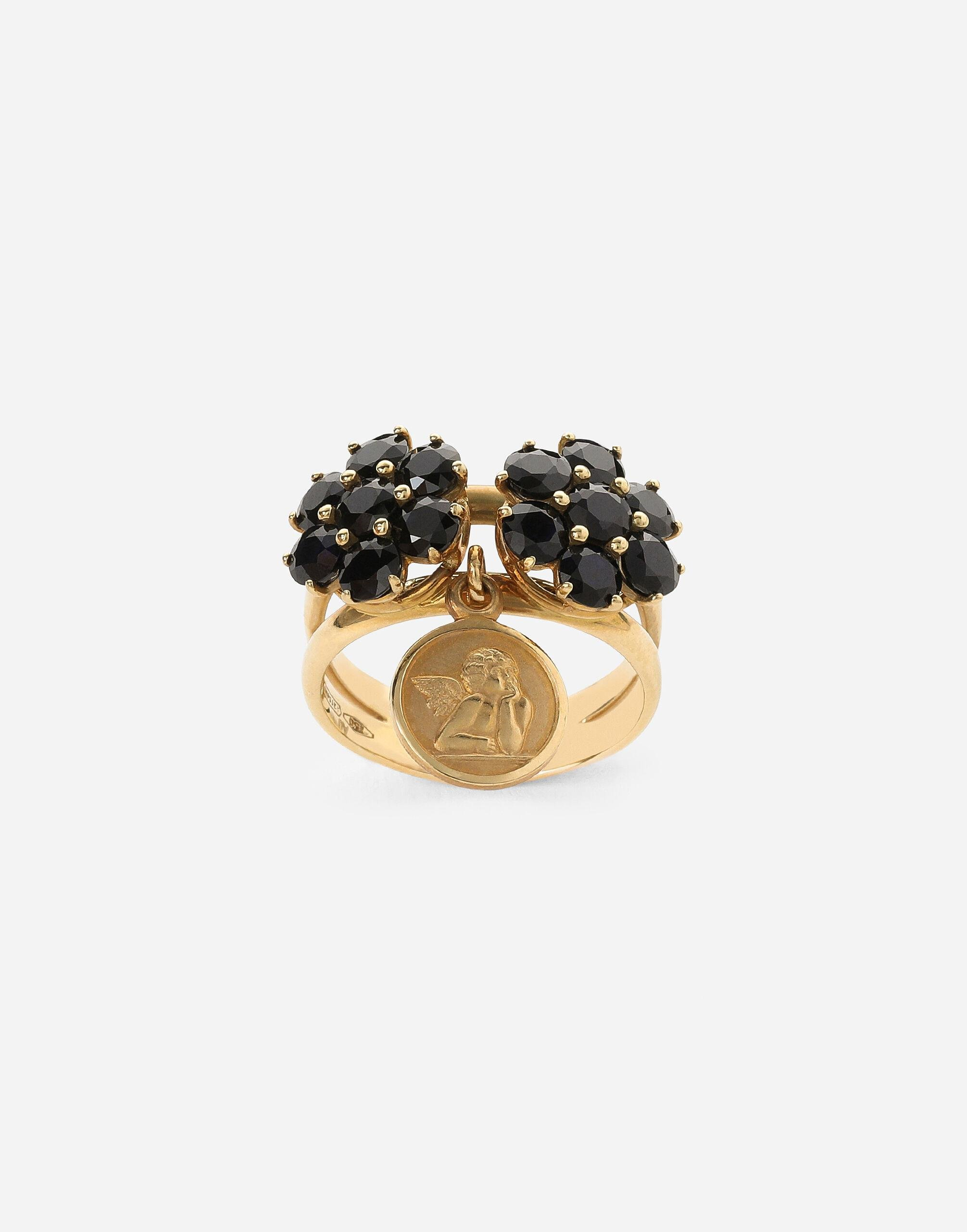 Family ring in yellow 18kt gold with black sapphires