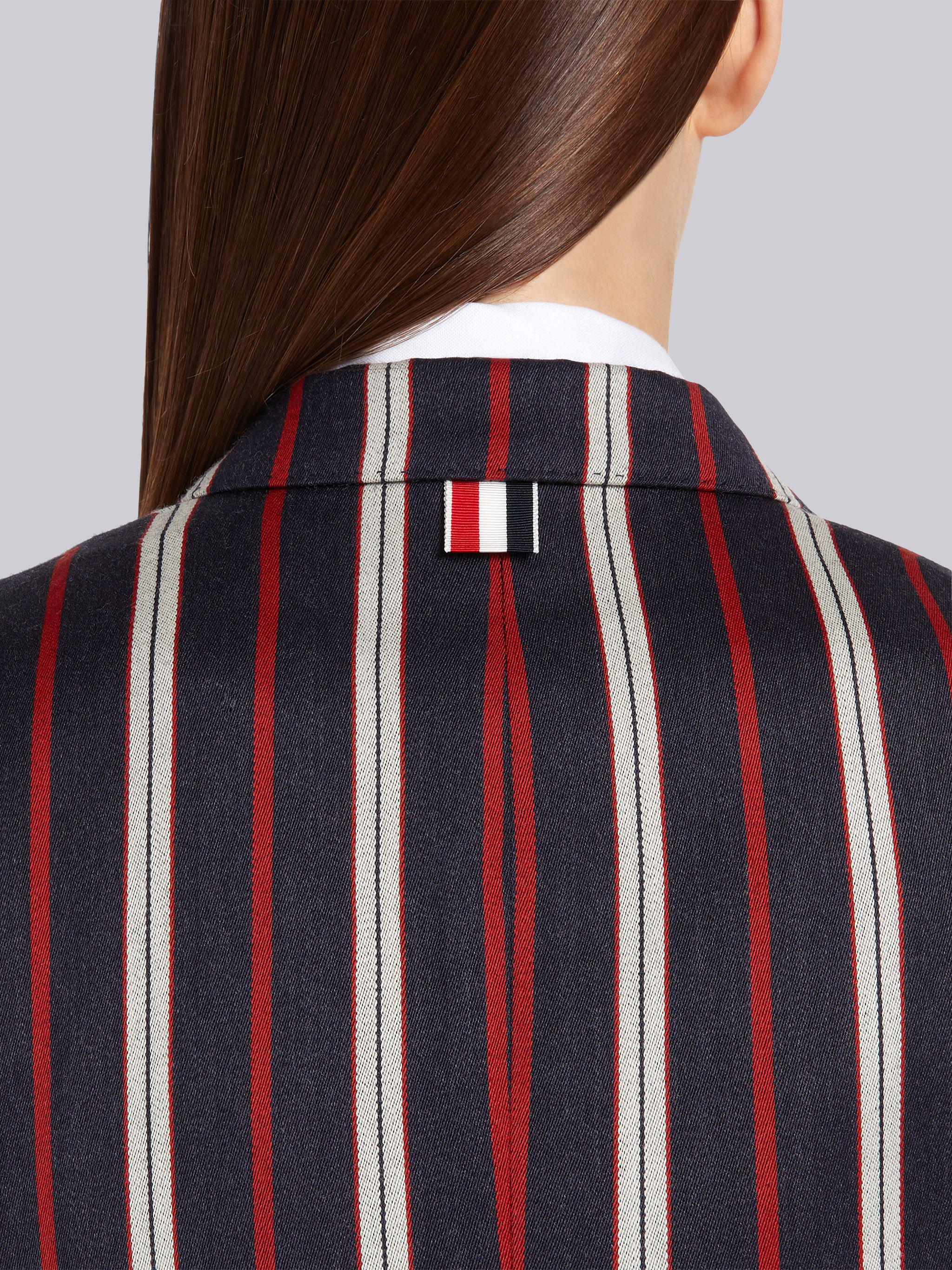 Multi-Color Wool Cotton Suiting Variegated Rep Stripe High Armhole Jacket 4