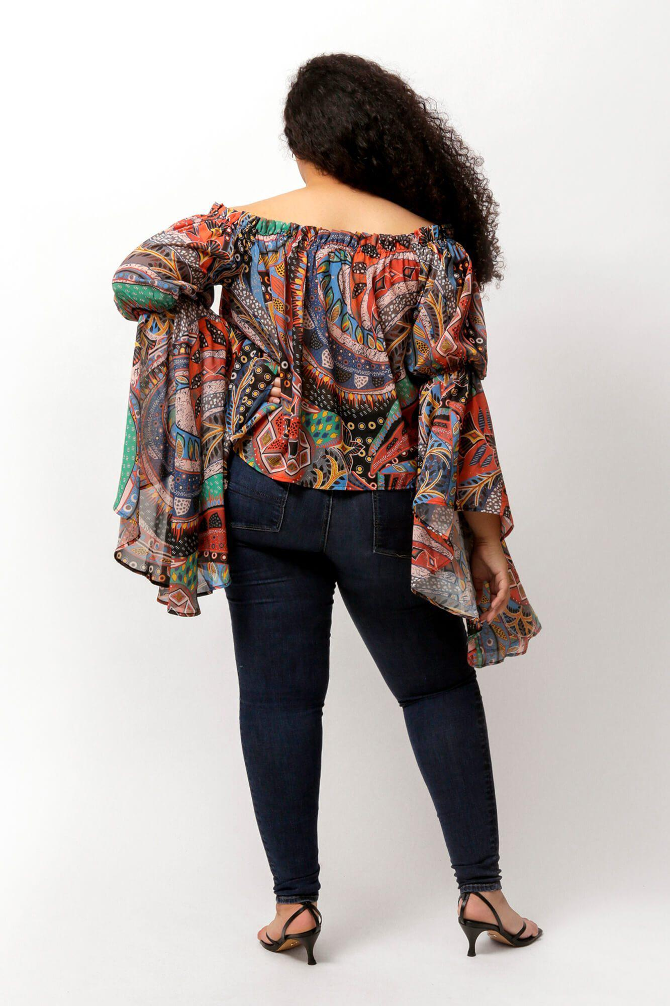 Ethnic Print Brittney Off The Shoulder Bell Sleeve Top 3