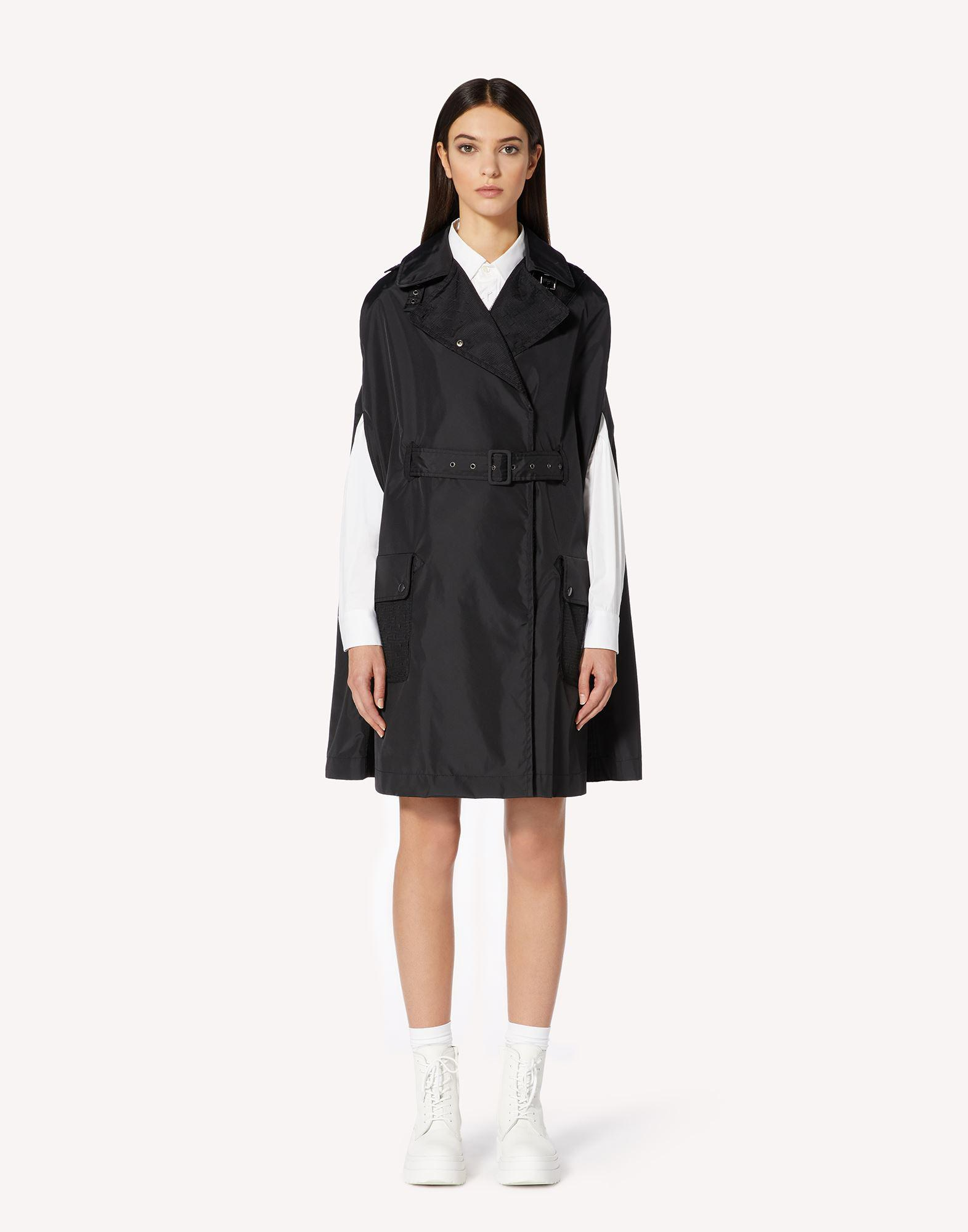 NYLON TRENCH CAPE WITH PLEATED BACK