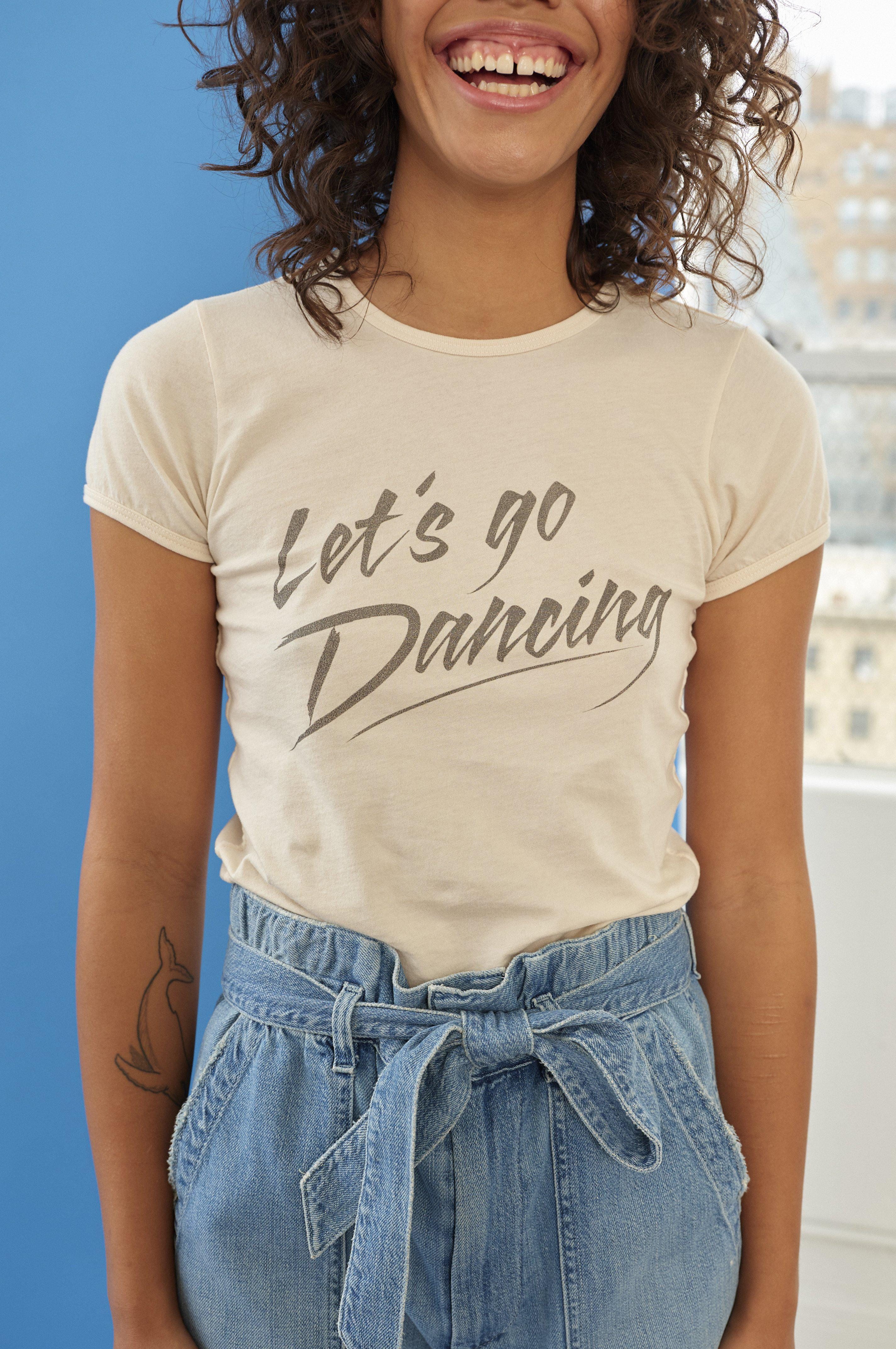 LET'S GO DANCING FITTED BABY TEE BARE