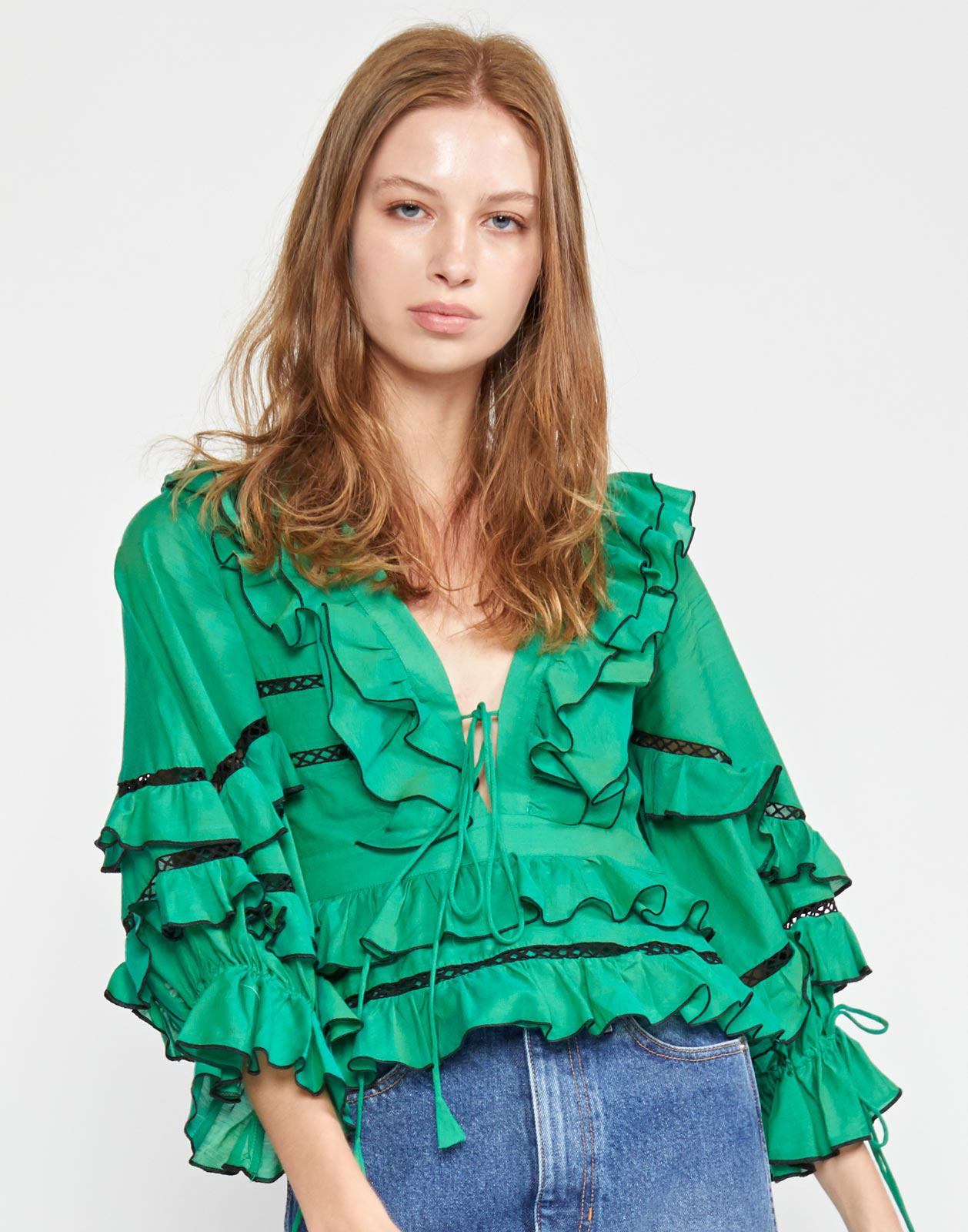 Stella Tie Front Tiered Blouse
