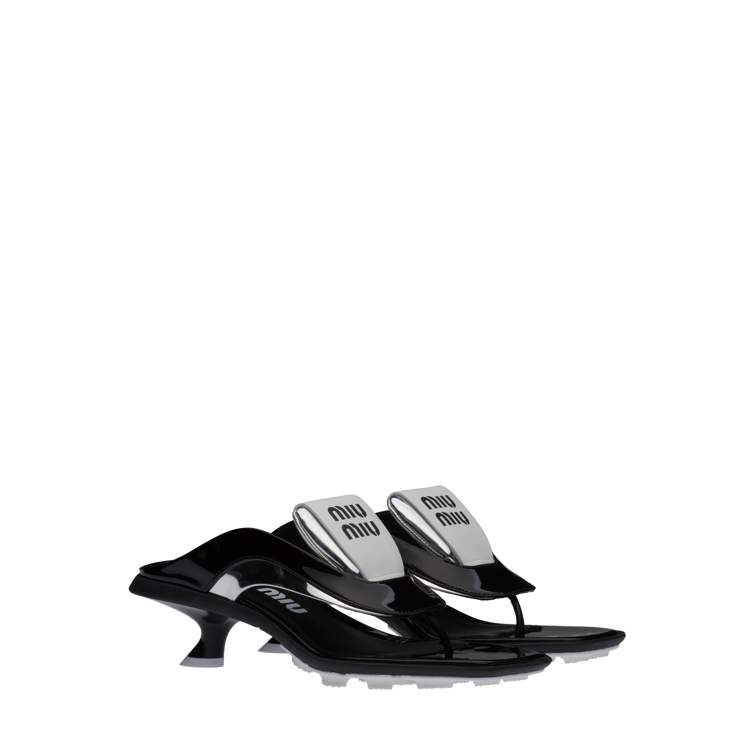 Technical Patent Leather Thong Sandals Women Black/silver
