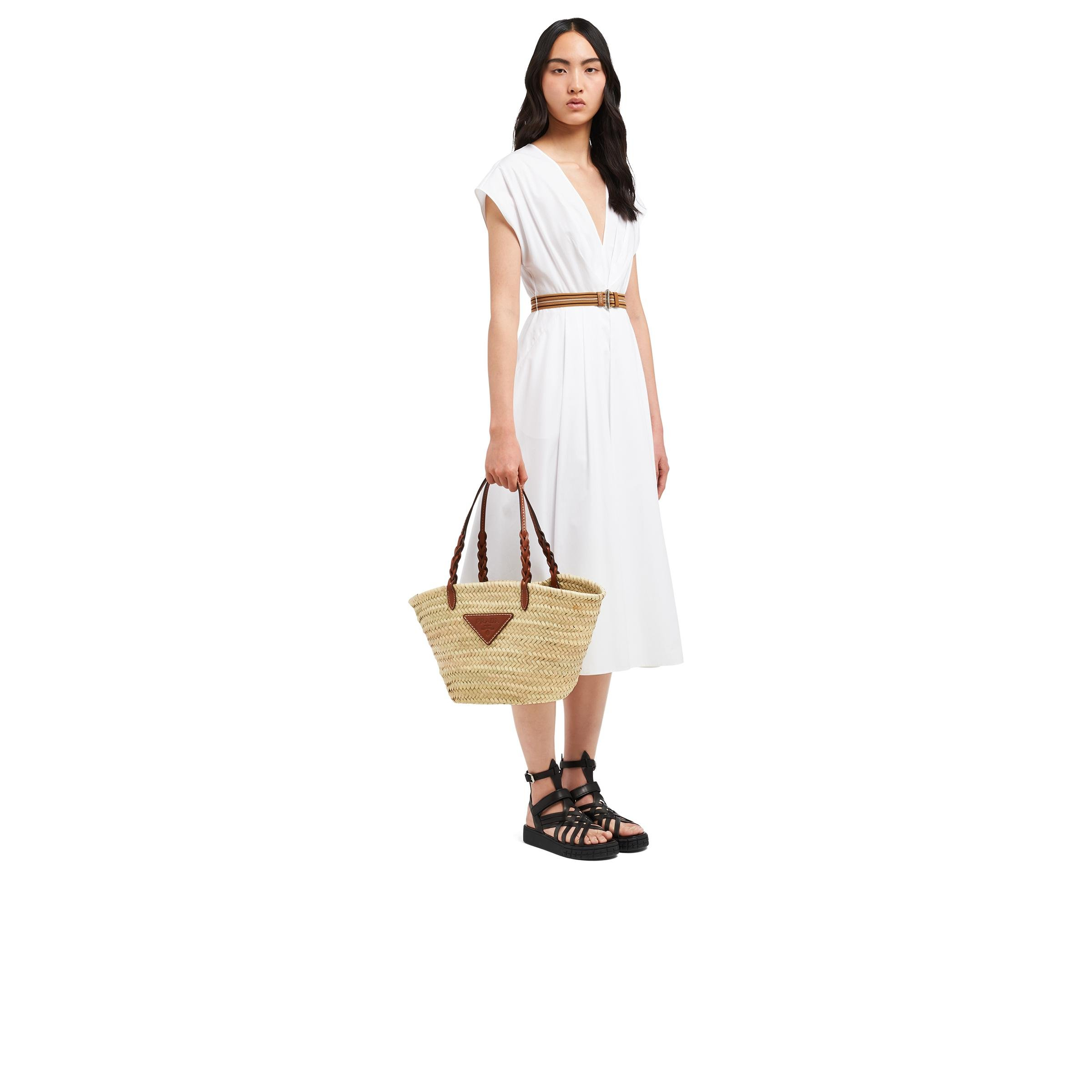 Woven Palm And Leather Tote Women Beige/cognac 6