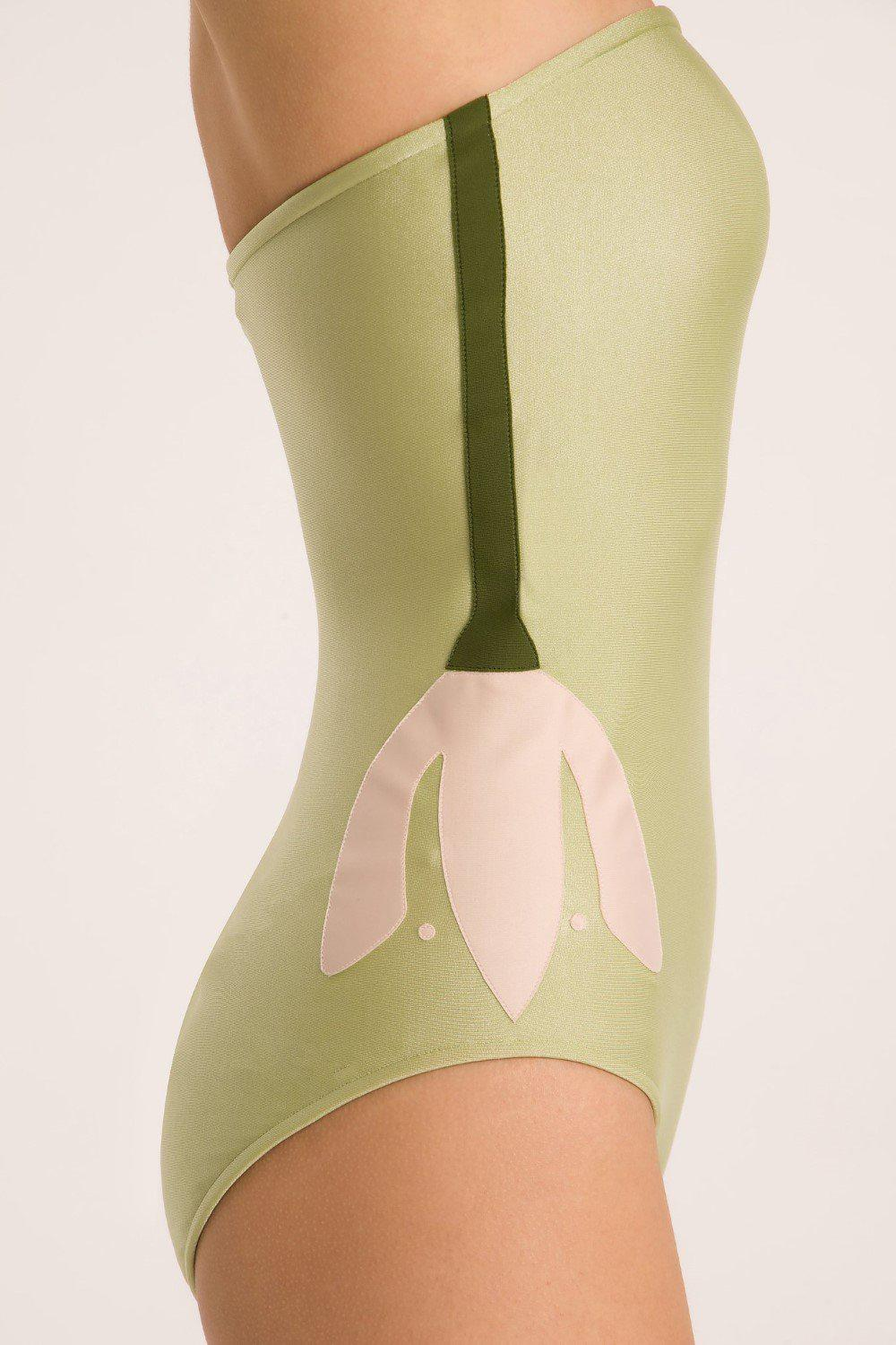 Solid Strapless Swimsuit With Muguet Applications 1