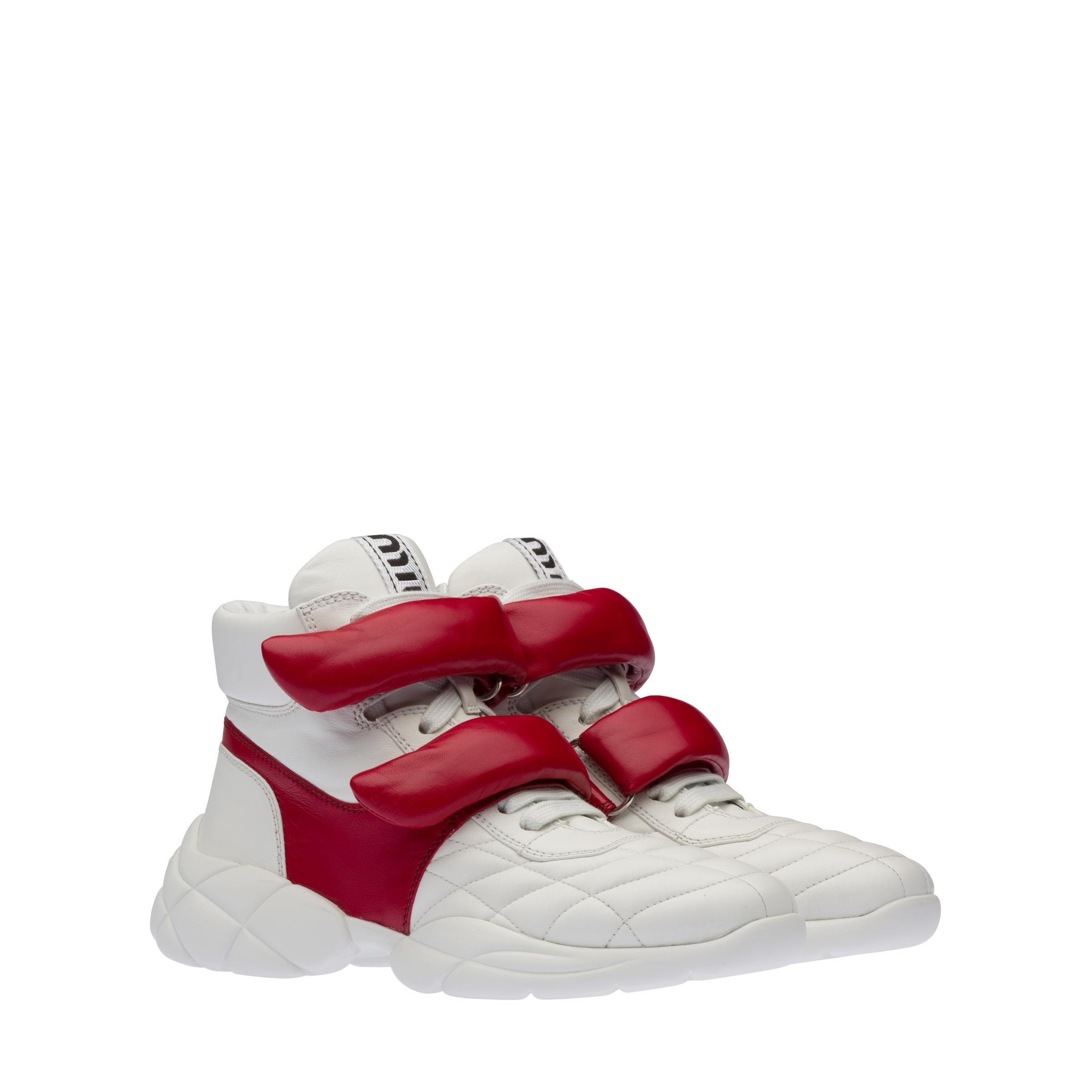 Nappa Leather High-top Sneakers Women White/red