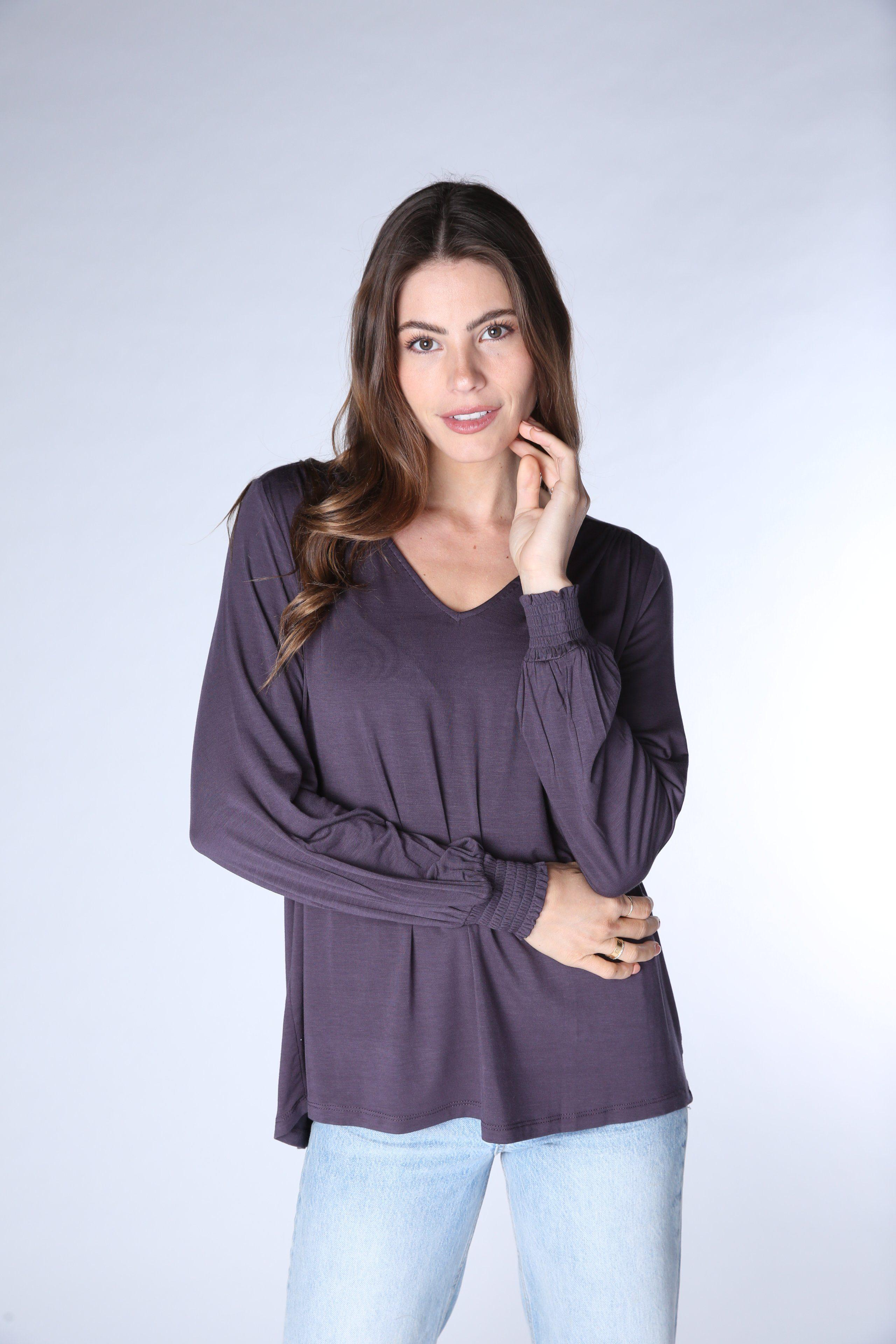 Ruched Gathered Long Sleeve Tee 1