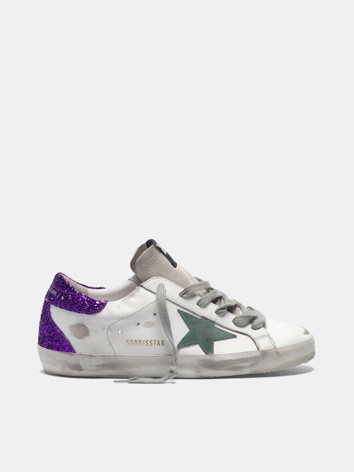 White Super-Star sneakers with glittery purple rear 0