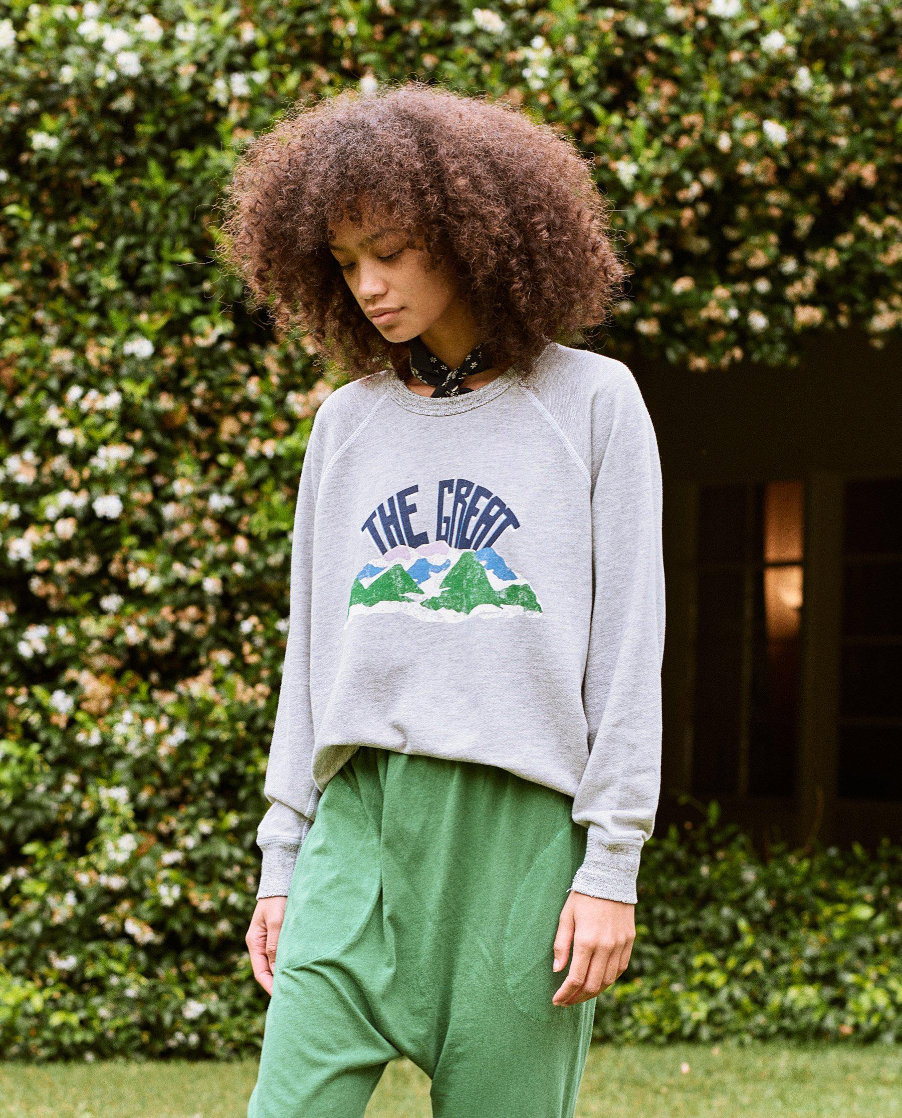 The College Sweatshirt. Graphic -- Light Heather Grey with Mountain Side Graphic