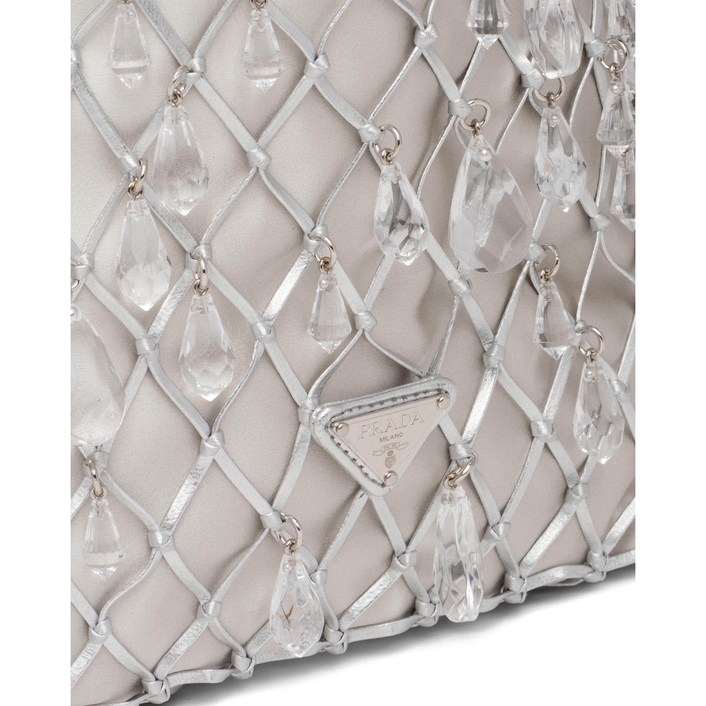 Leather Mesh And Satin Clutch Women Silver 5
