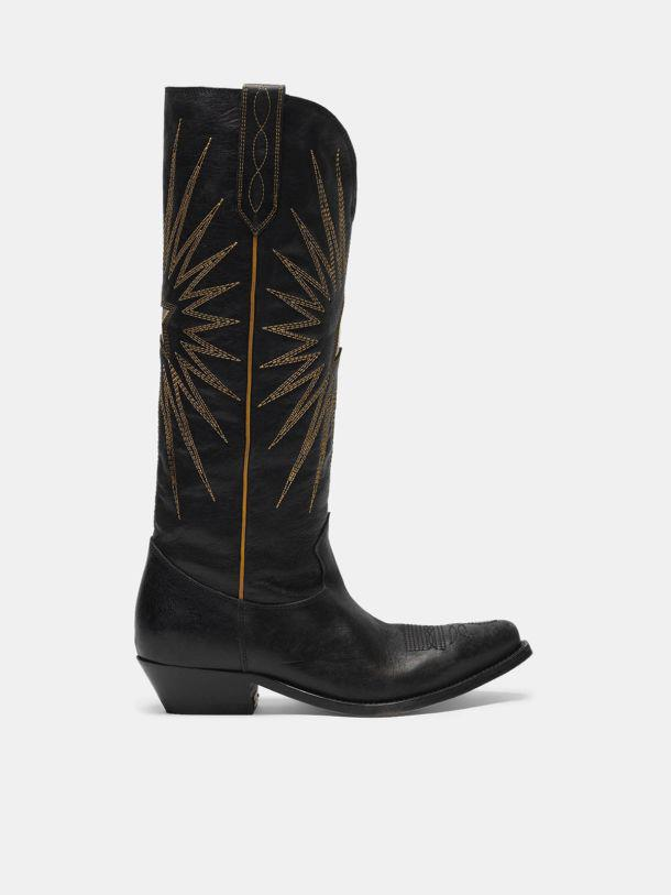 Wish Star boots in glossy leather with cowboy-style decoration
