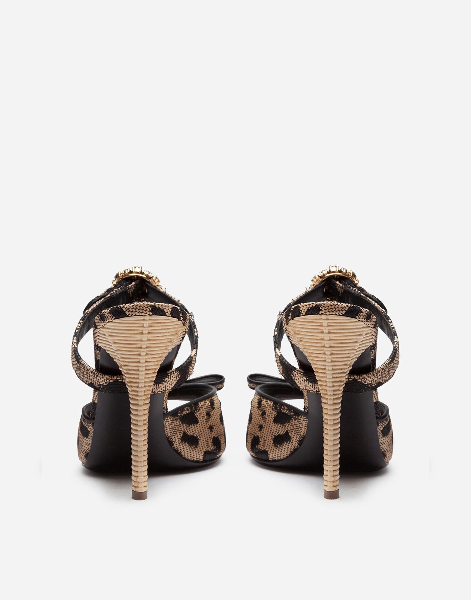 Mules in silk jacquard with leopard print and bejeweled buckle 2