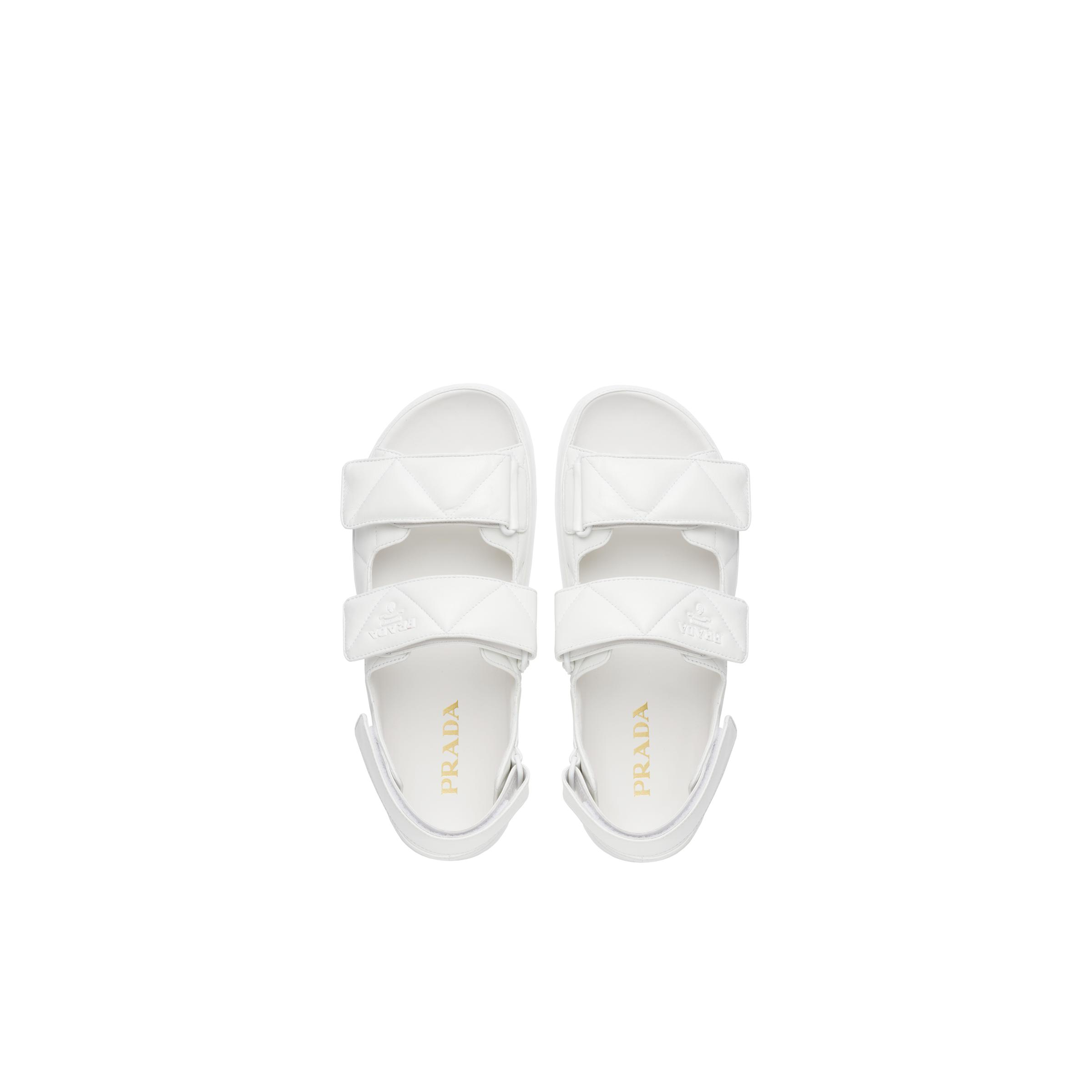 Padded Nappa Leather Sandals Women White 1