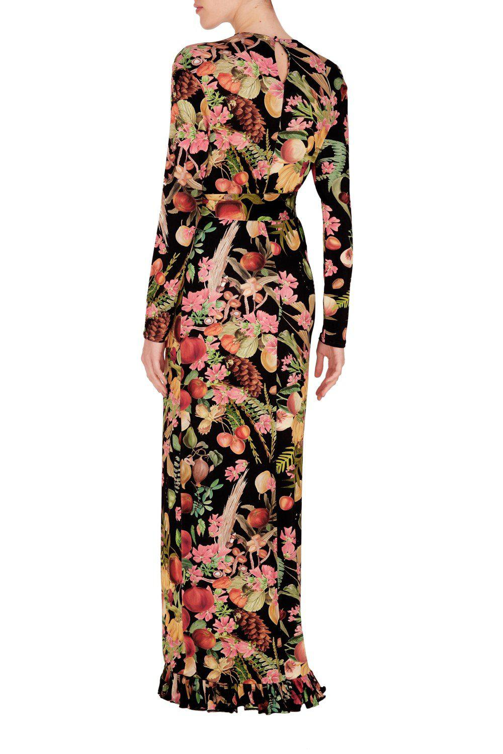 Fruits Exotiques Long Dress with Frills 1