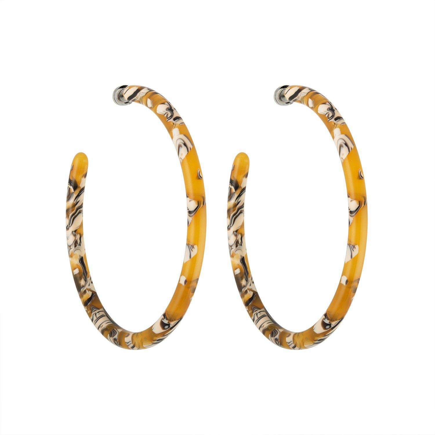 Large Hoops in Calico