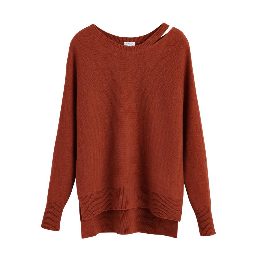 Women's Recycled Split-Neck Sweater in Ginger | Size: