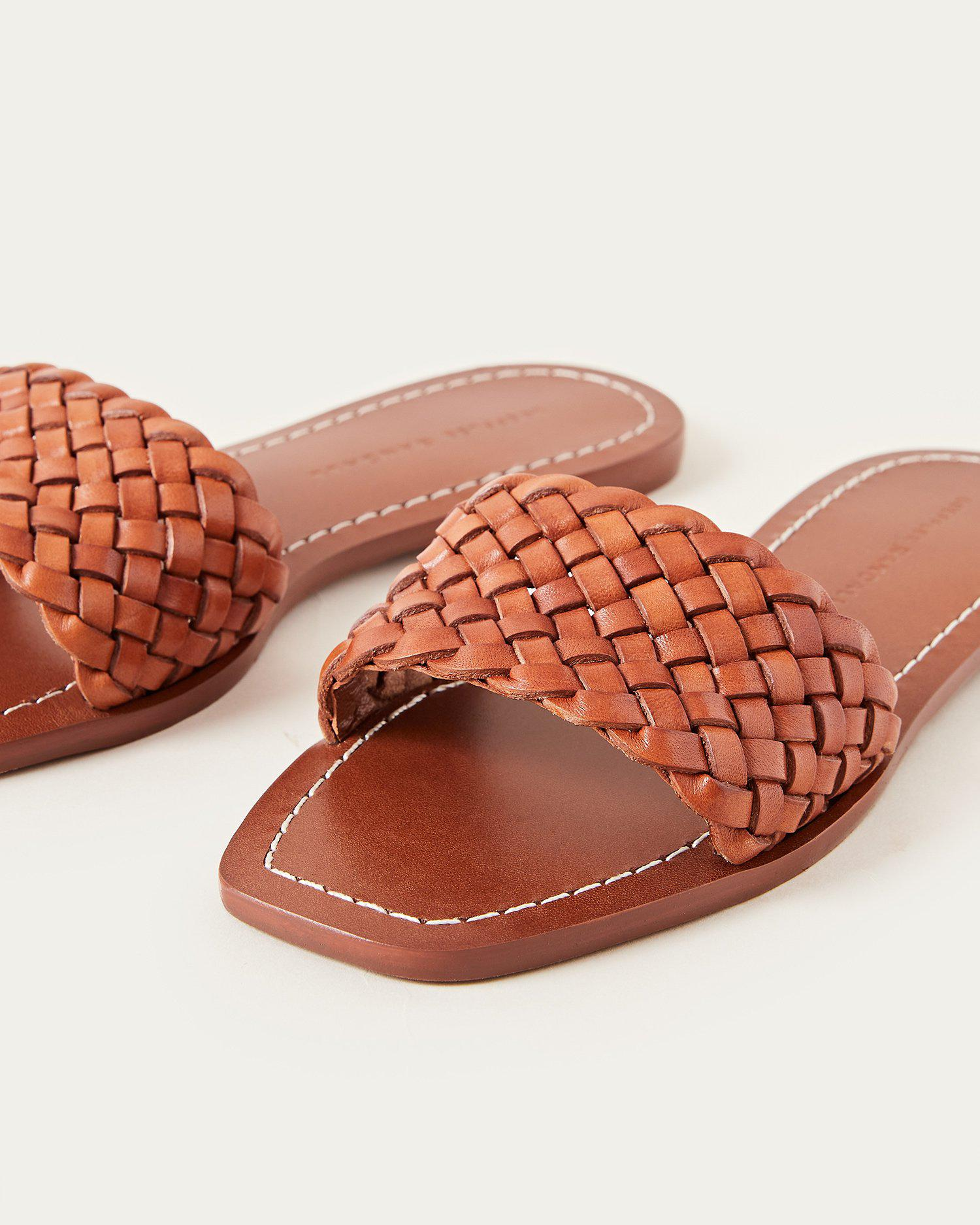 Joey Woven Leather Slide Timber 2