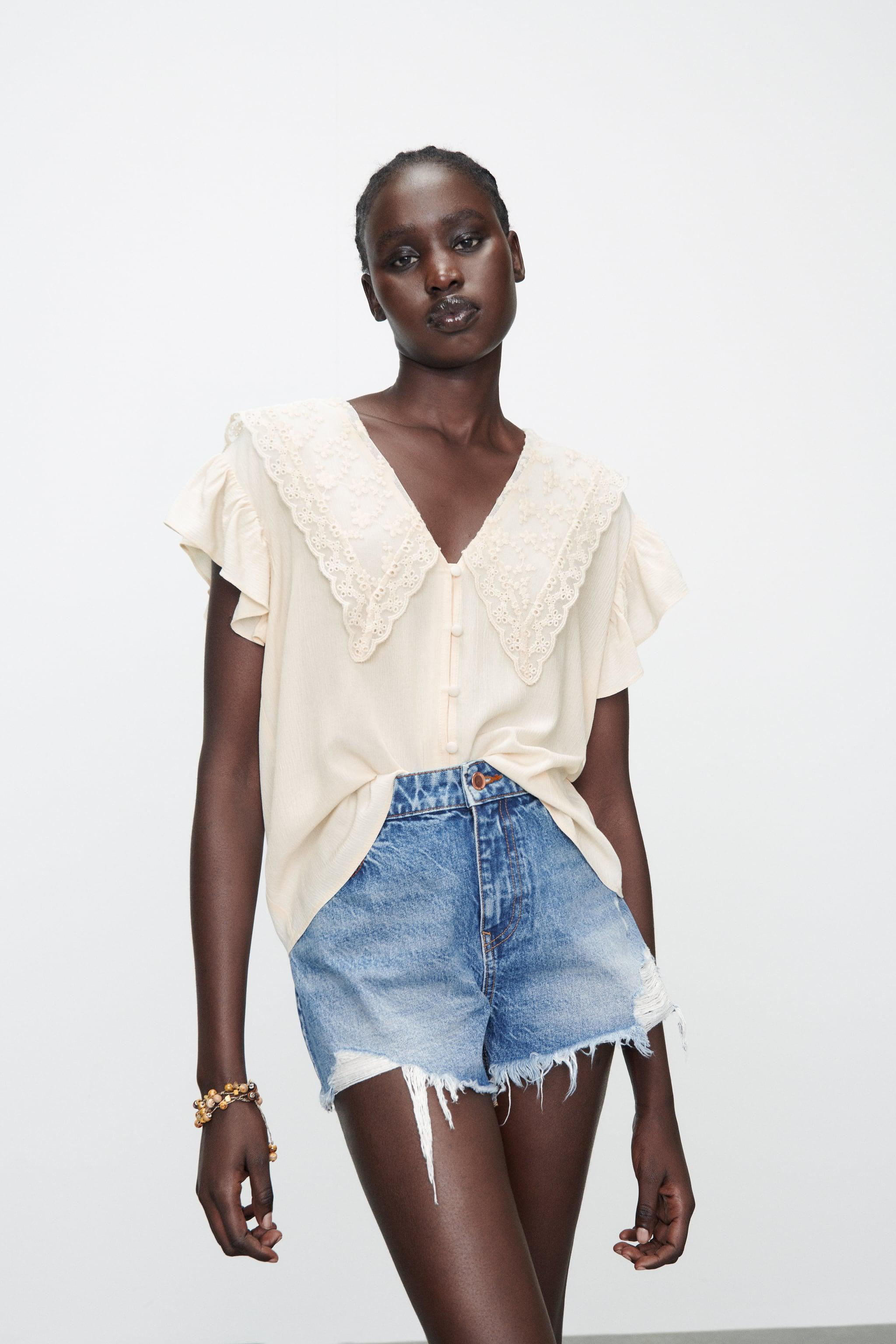 EMBROIDERED LAPEL BLOUSE 1