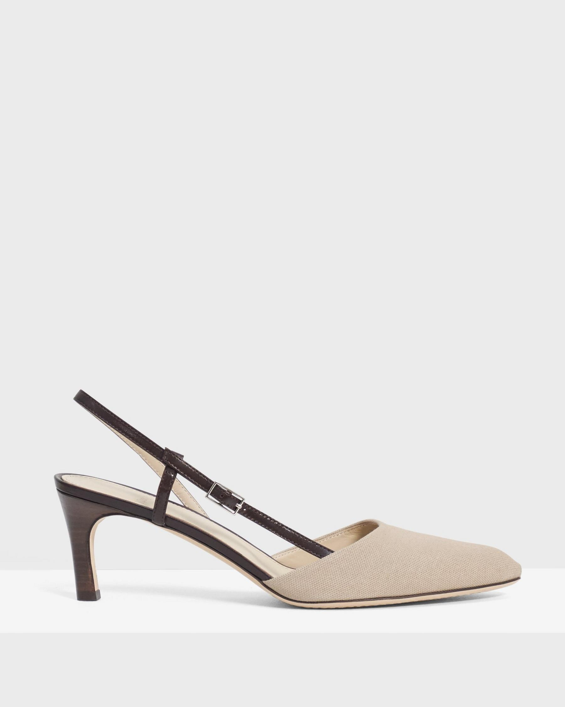Buckled Mid-Heel Sandal in Cotton Canvas 1