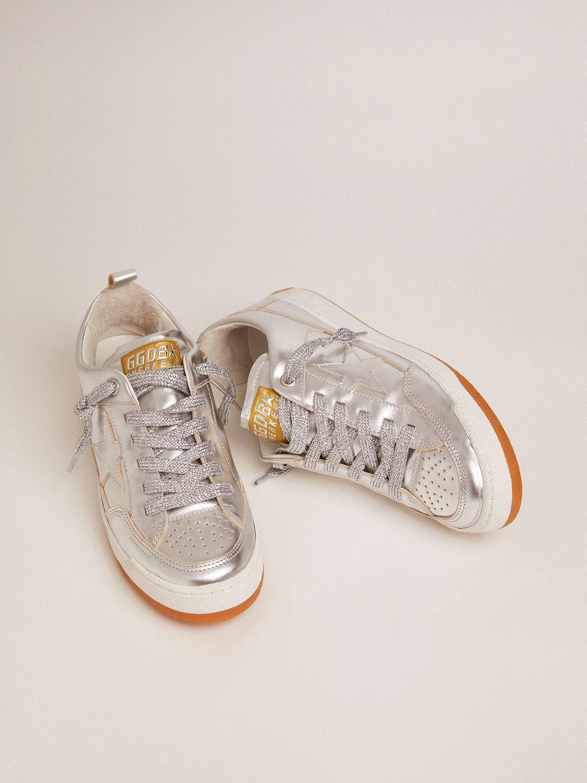 Yeah sneakers in silver laminated leather 1