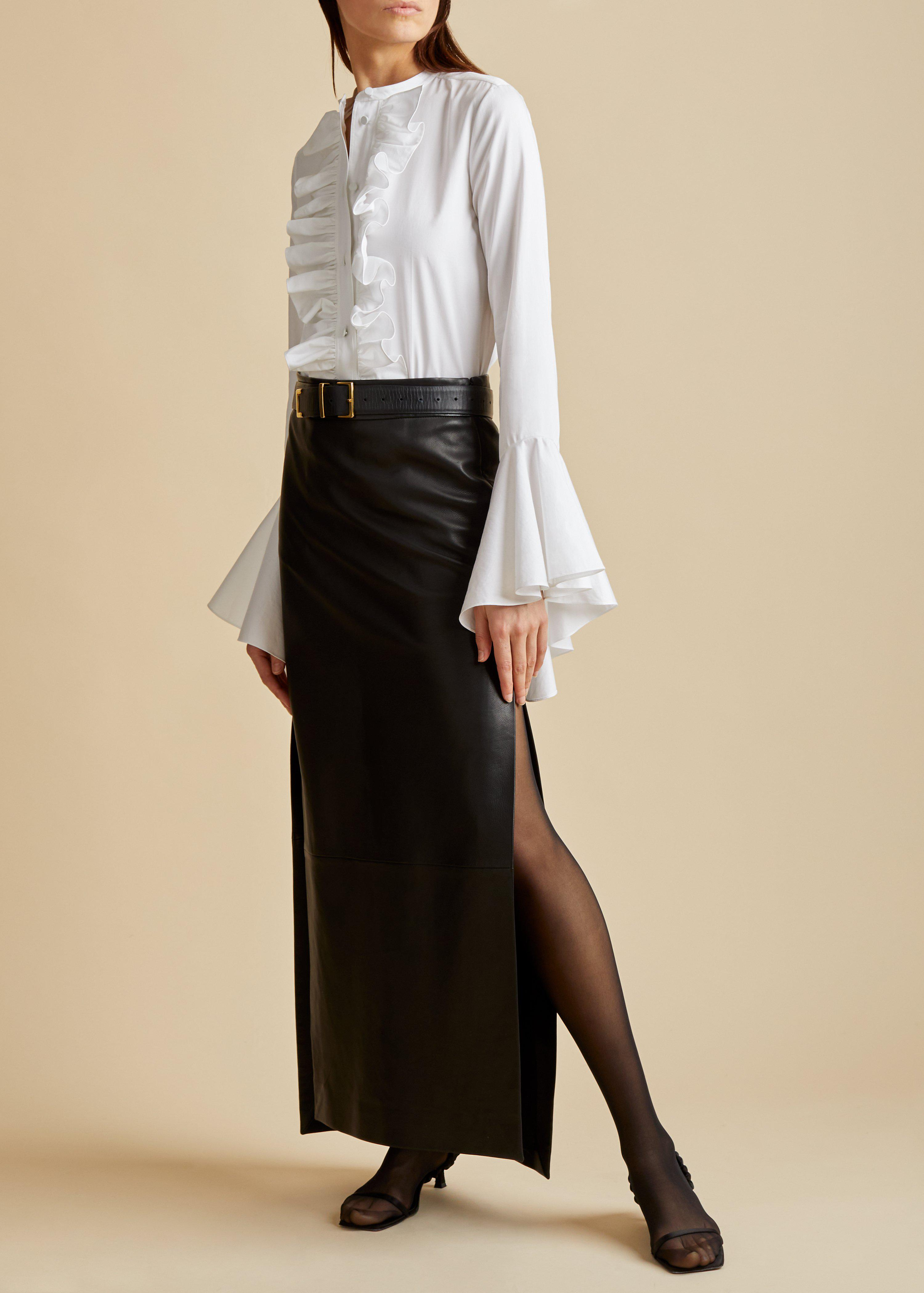 The Myla Skirt in Black Leather 0