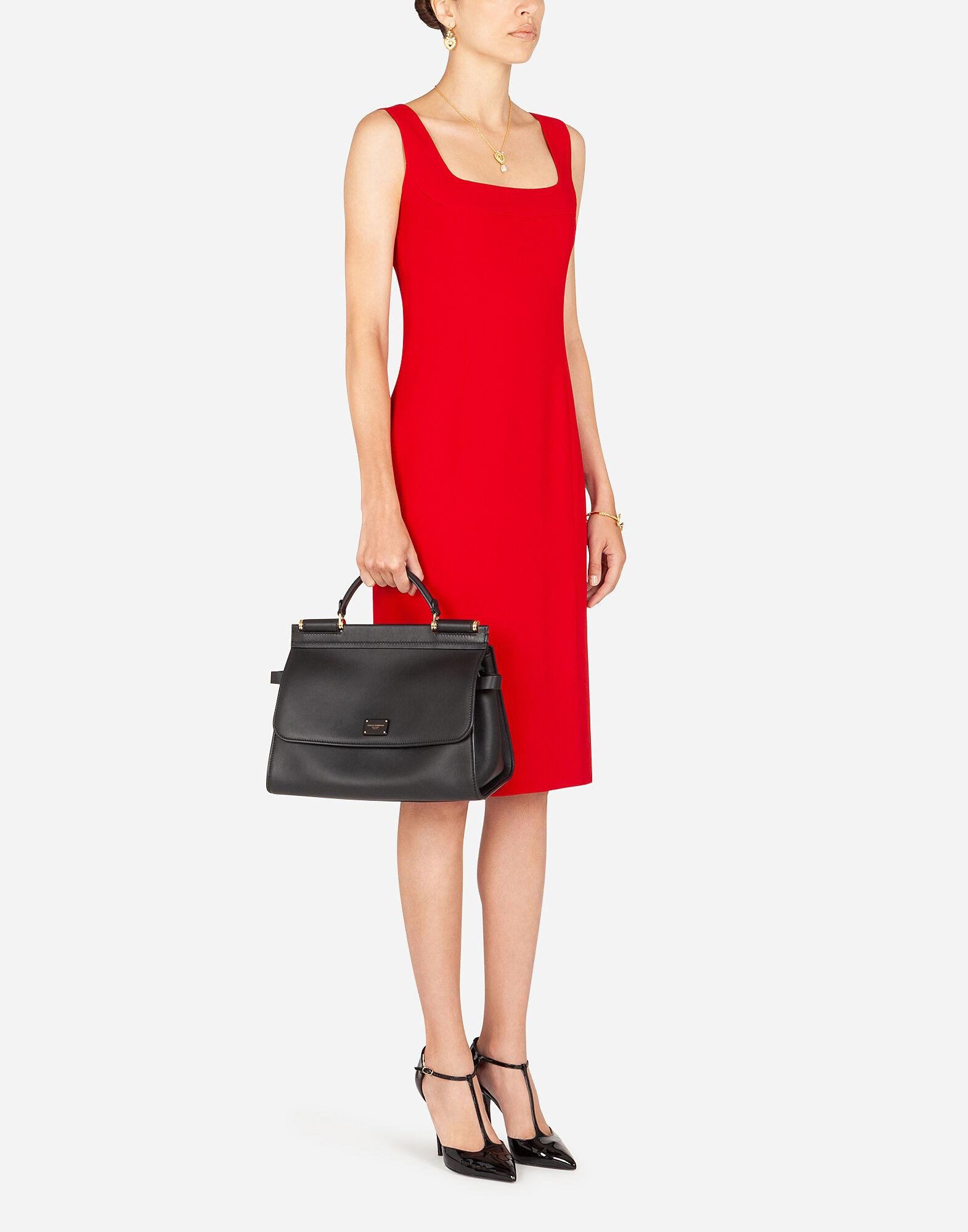 Midi dress in cady fabric with slit 2