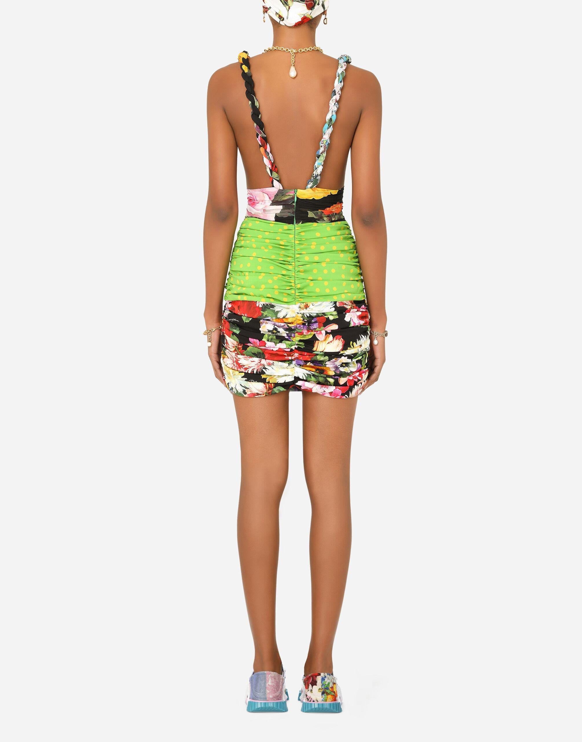 Short patchwork charmeuse and georgette dress 1