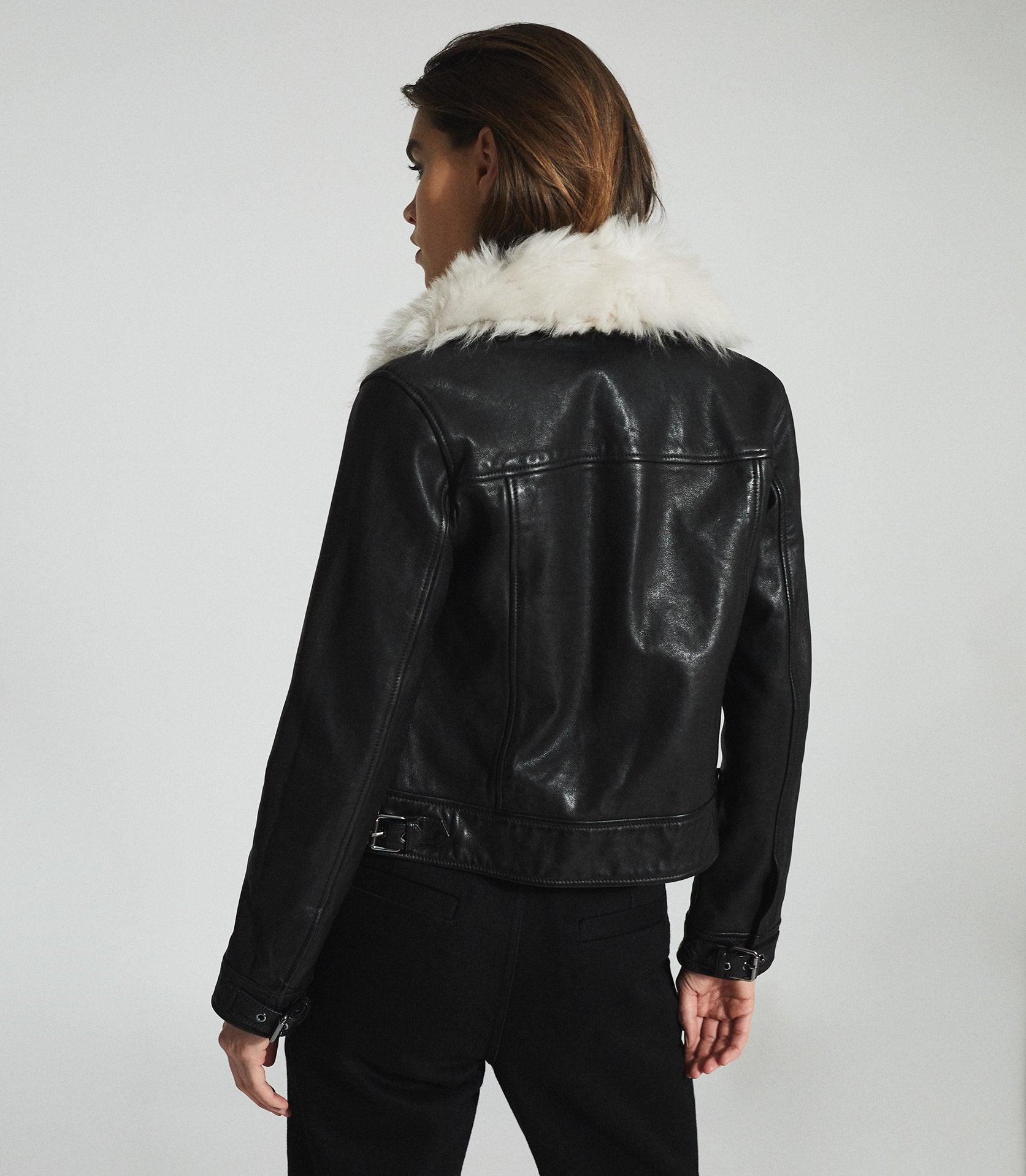SHELLIE - LEATHER JACKET WITH SHEARING COLLAR 3
