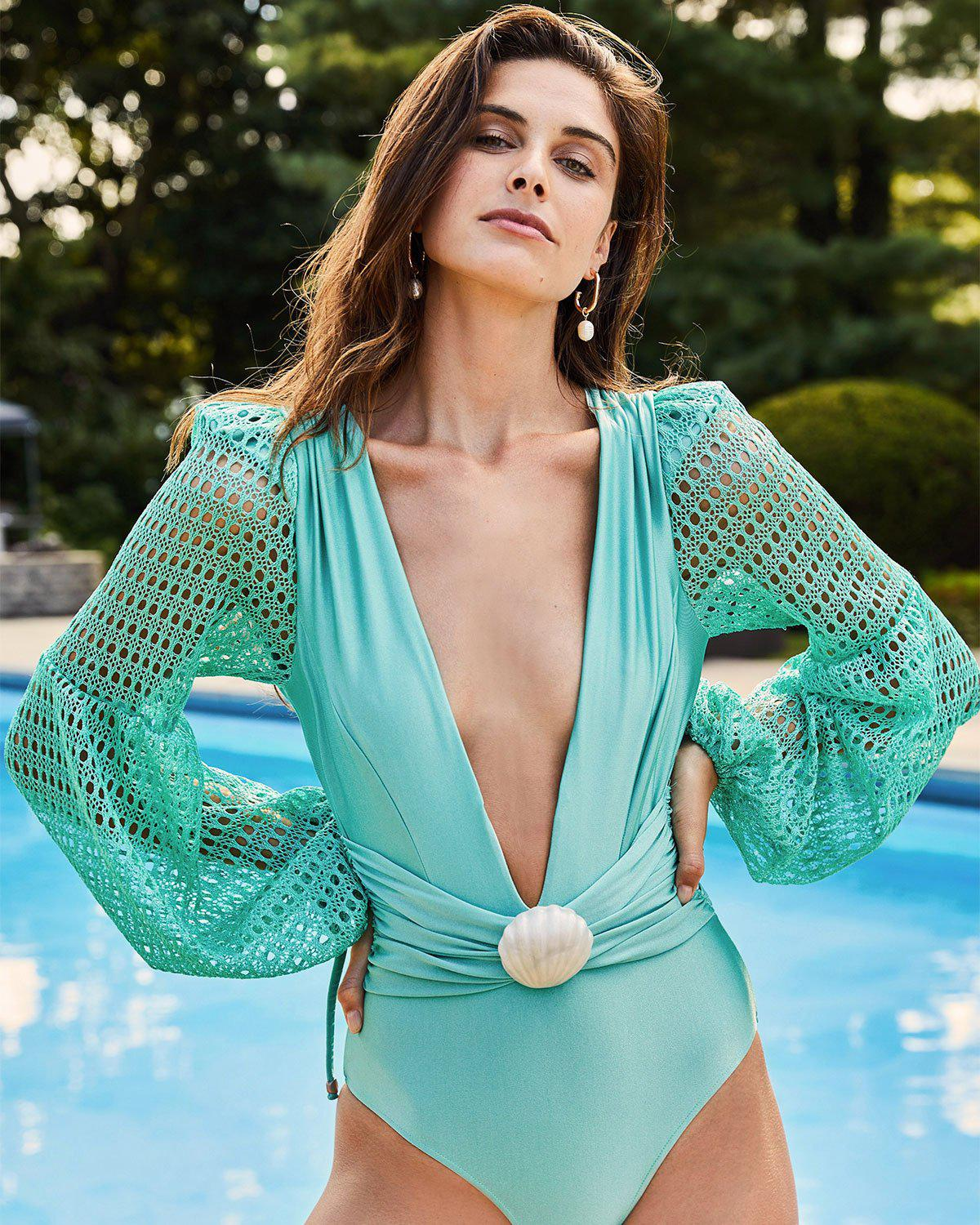 NETTED SLEEVE SWIMSUIT 0