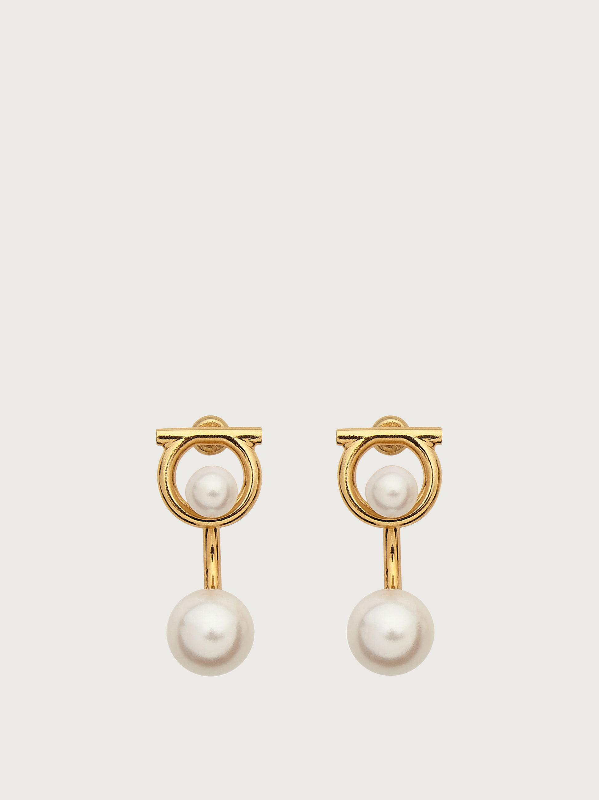 GANCINI EARRINGS WITH SYNTHETIC PEARLS