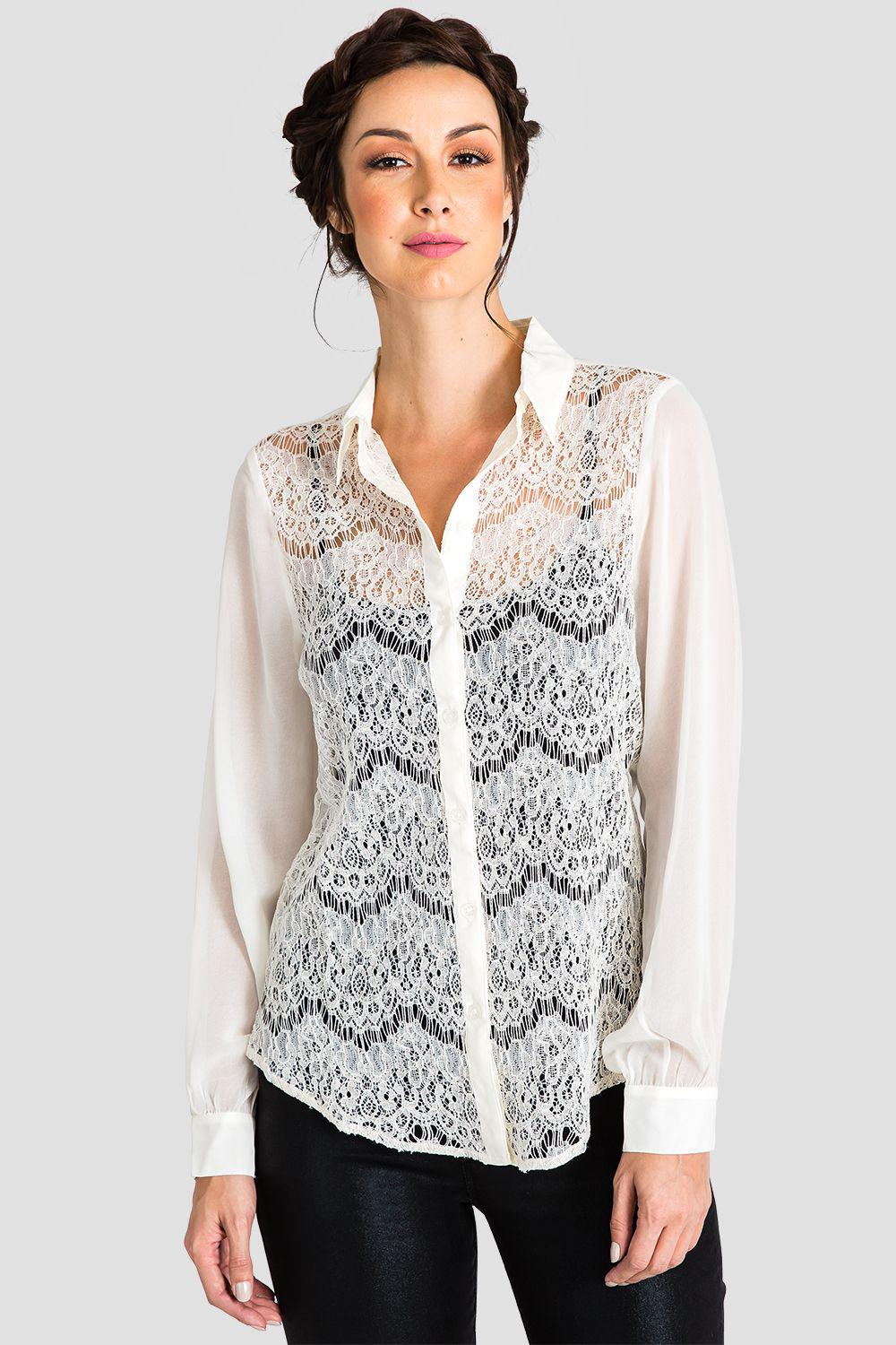 Coco Ivory Lace Collared Shirt
