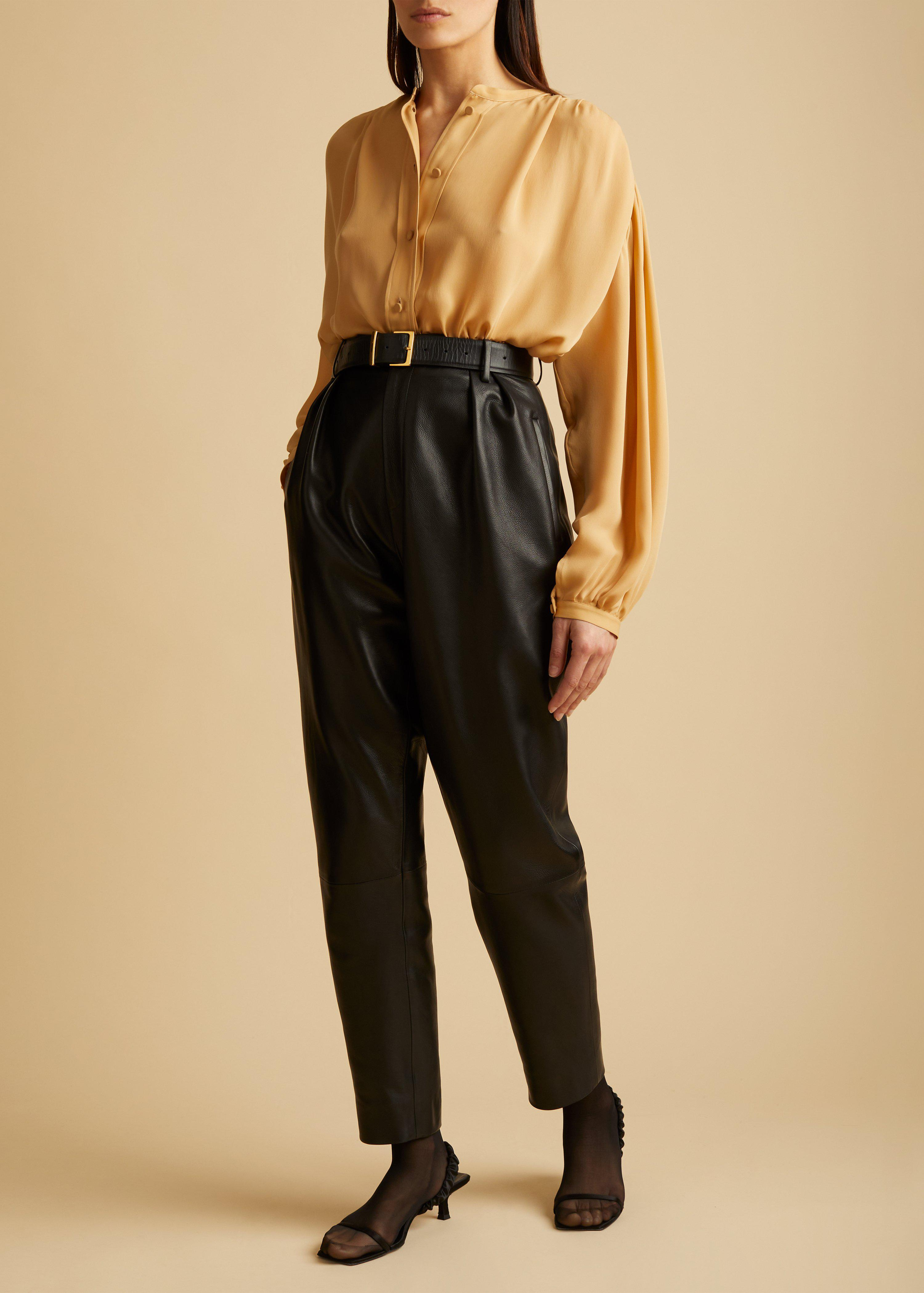 The Magdeline Pant in Black Leather