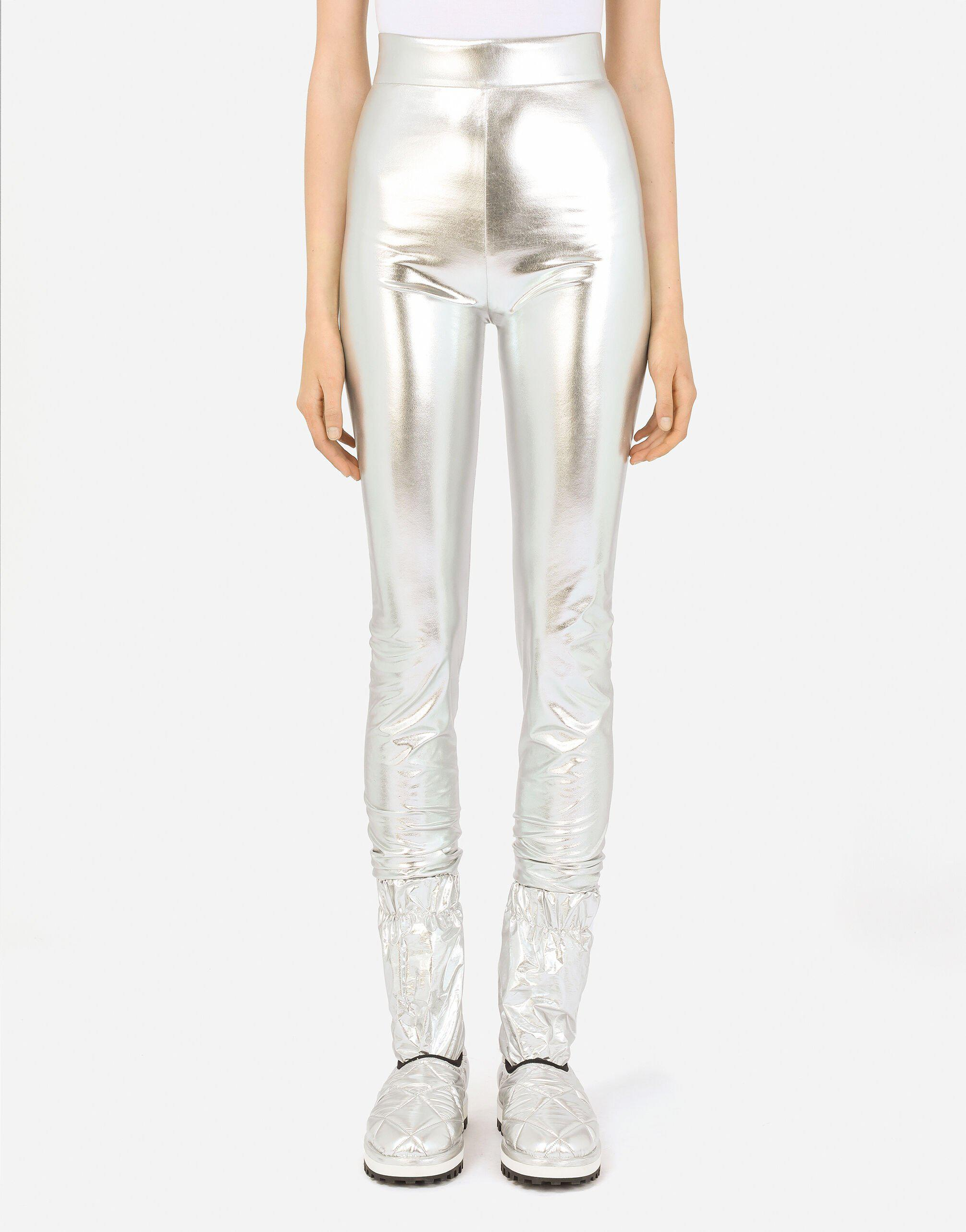 Foiled jersey leggings with draping