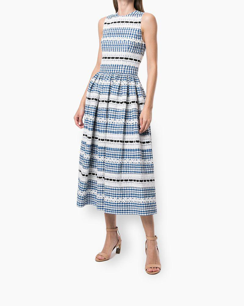 Embroidered Gingham A-Line Dress