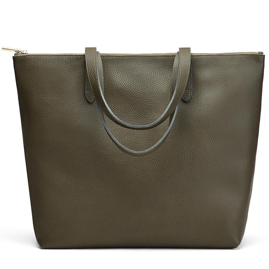 Women's Classic Leather Zipper Tote Bag in Dark Olive | Pebbled Leather by Cuyana