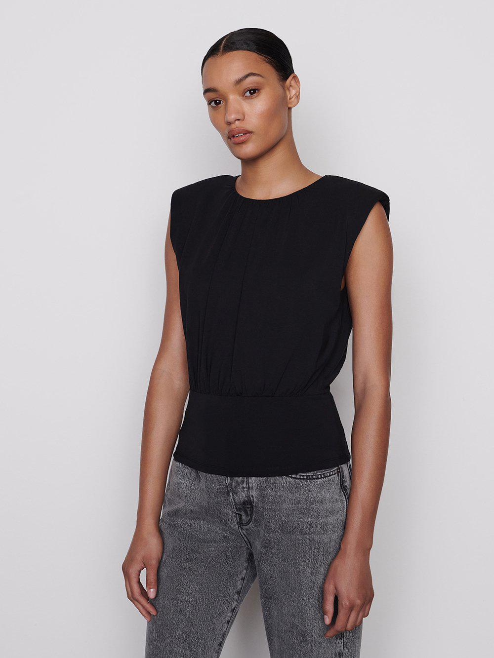 Fitted Shirred Knit Sleeveless Top -- Noir