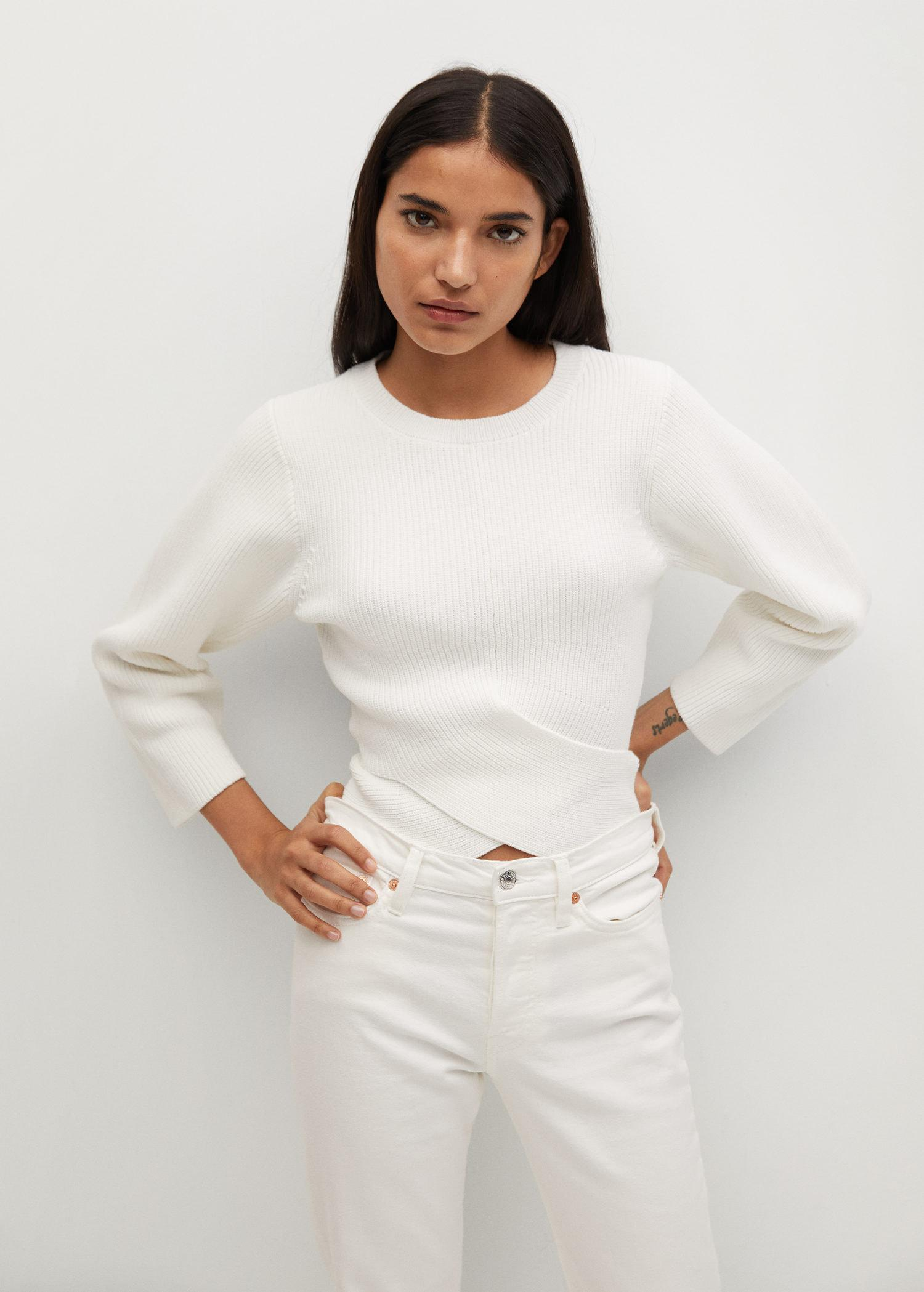 Sweater with crossover detail