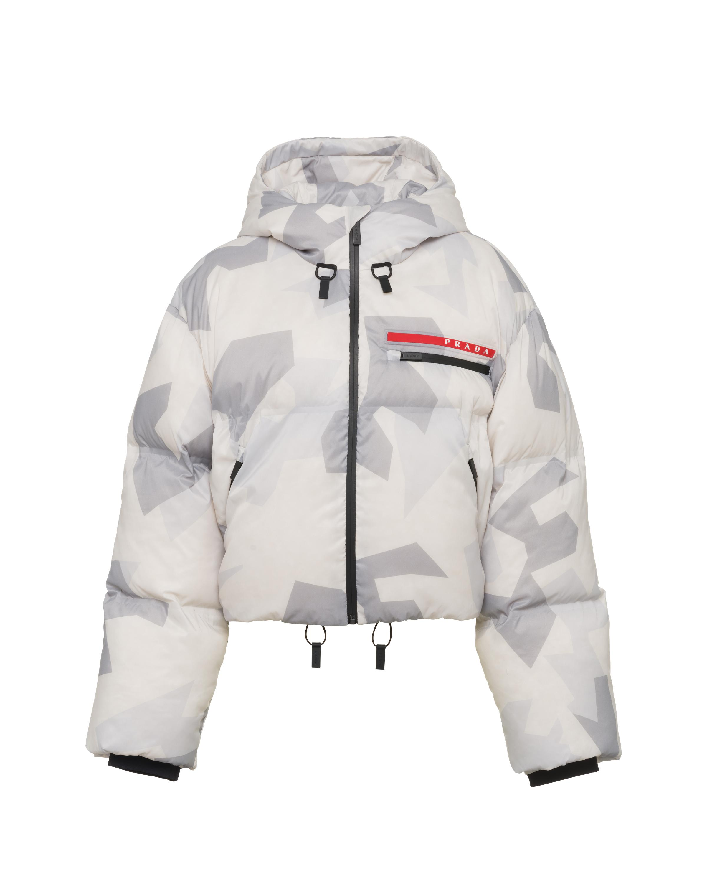Cropped Camouflage Print Nylon Puffer Jacket Women Marble Gray 5
