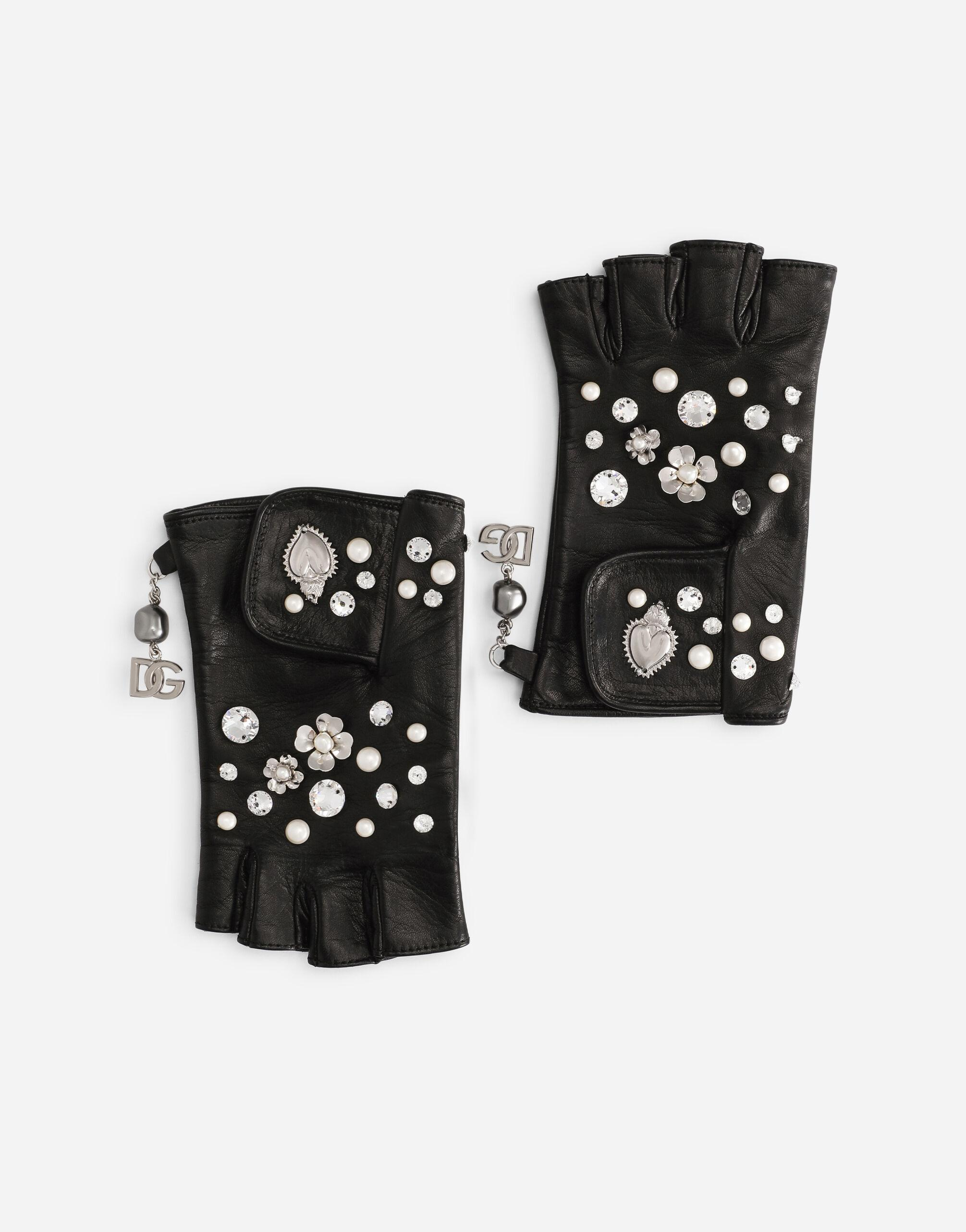 Nappa leather gloves with bejeweled embellishment