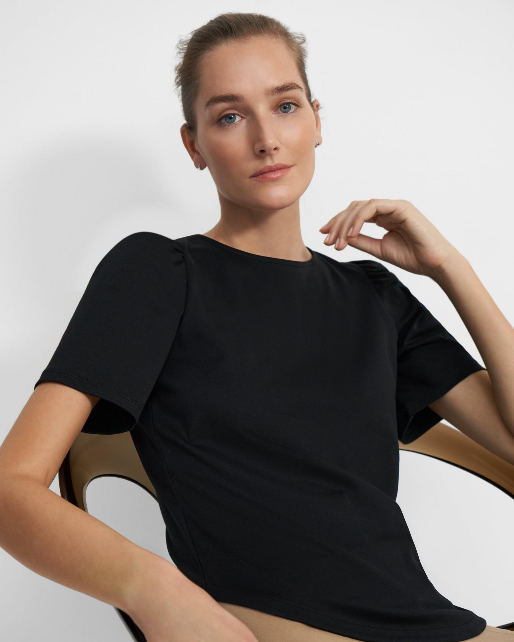 Short-Sleeve Ruched Tee in Cotton Jersey