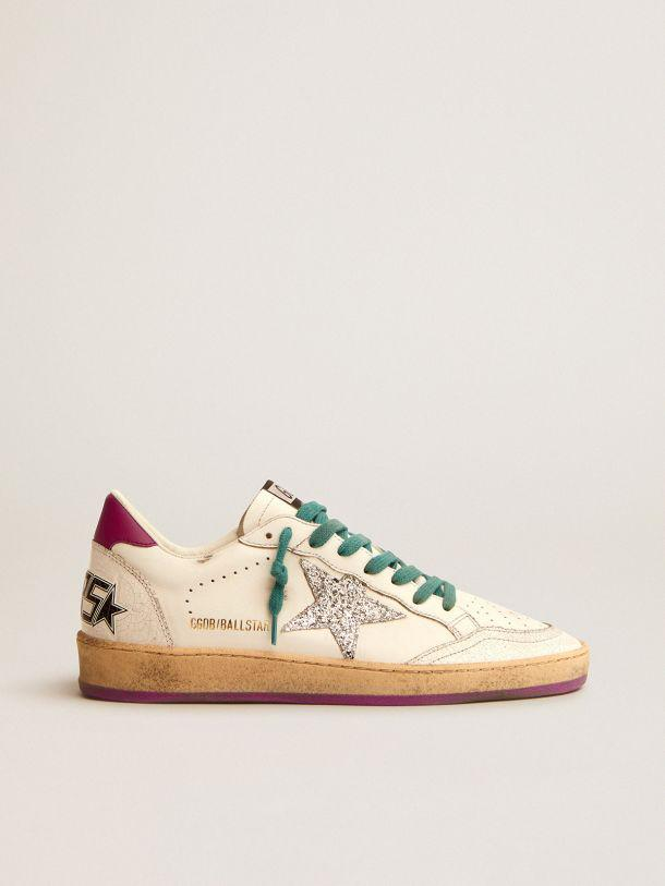 Ball Star LTD sneakers in white leather with purple leather heel tab and silver glitter star