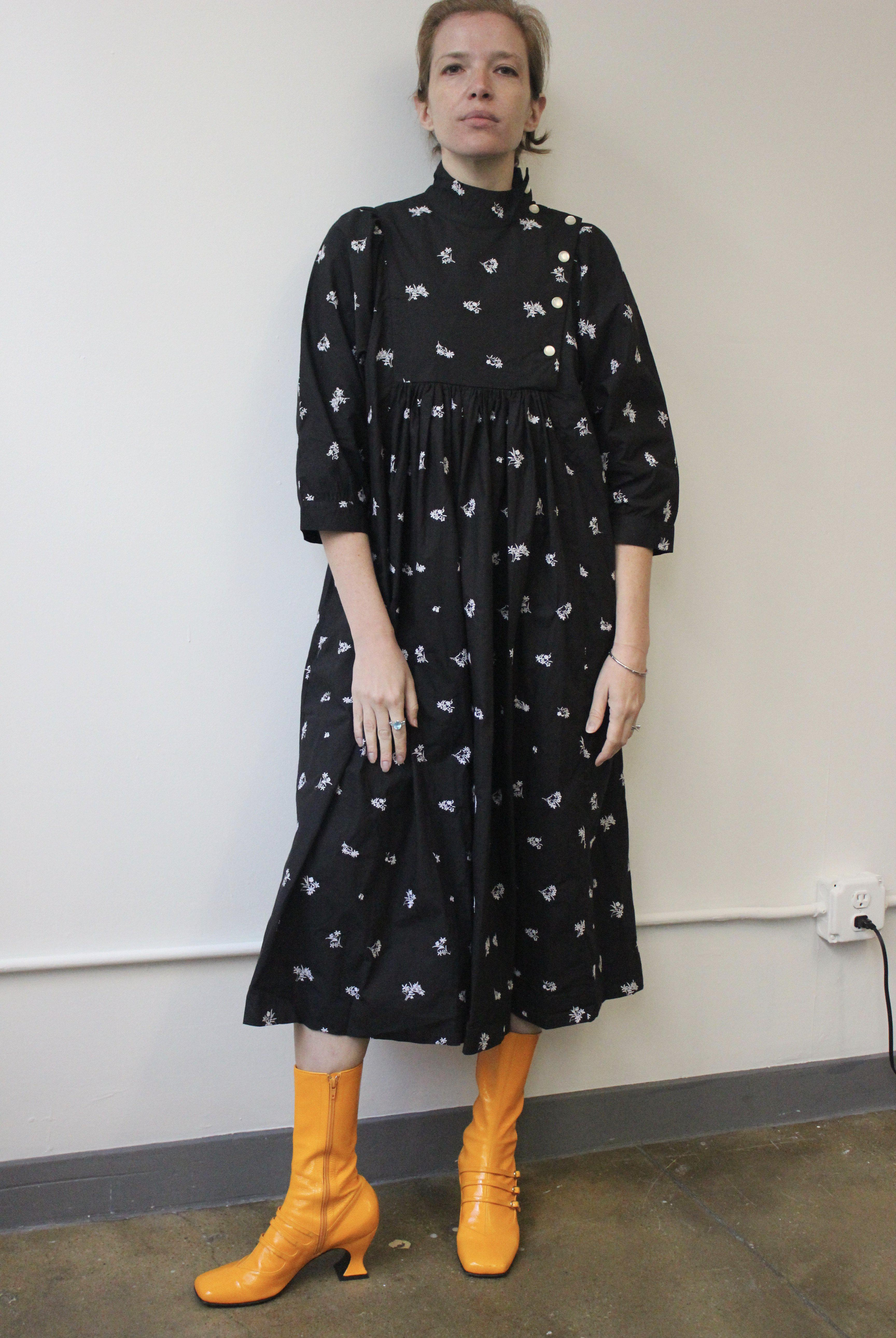 Smock Dress in Black Embroidered Cotton 7