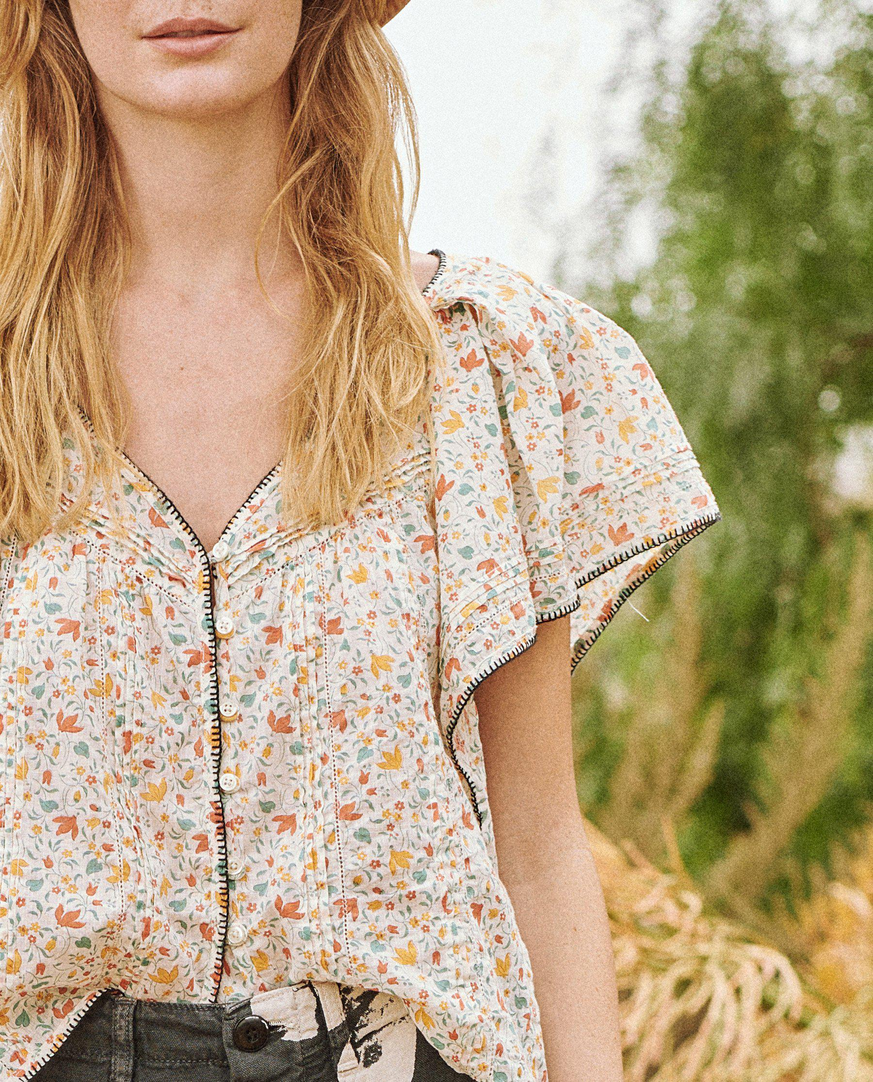 The Whip Stitched Flounce Top. -- Pastel Floral