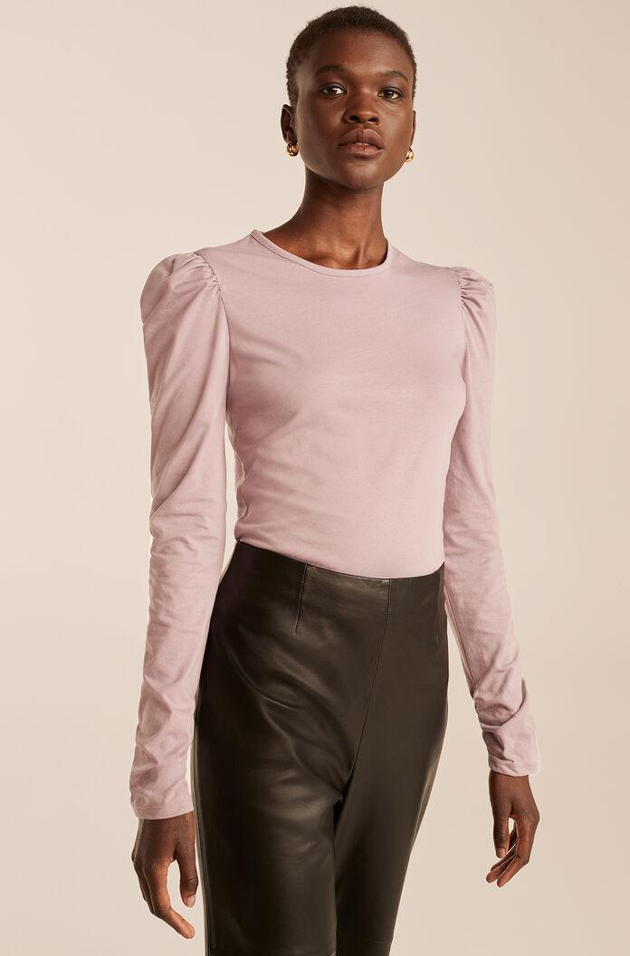 RUCHED LONG SLEEVE KNIT TOP