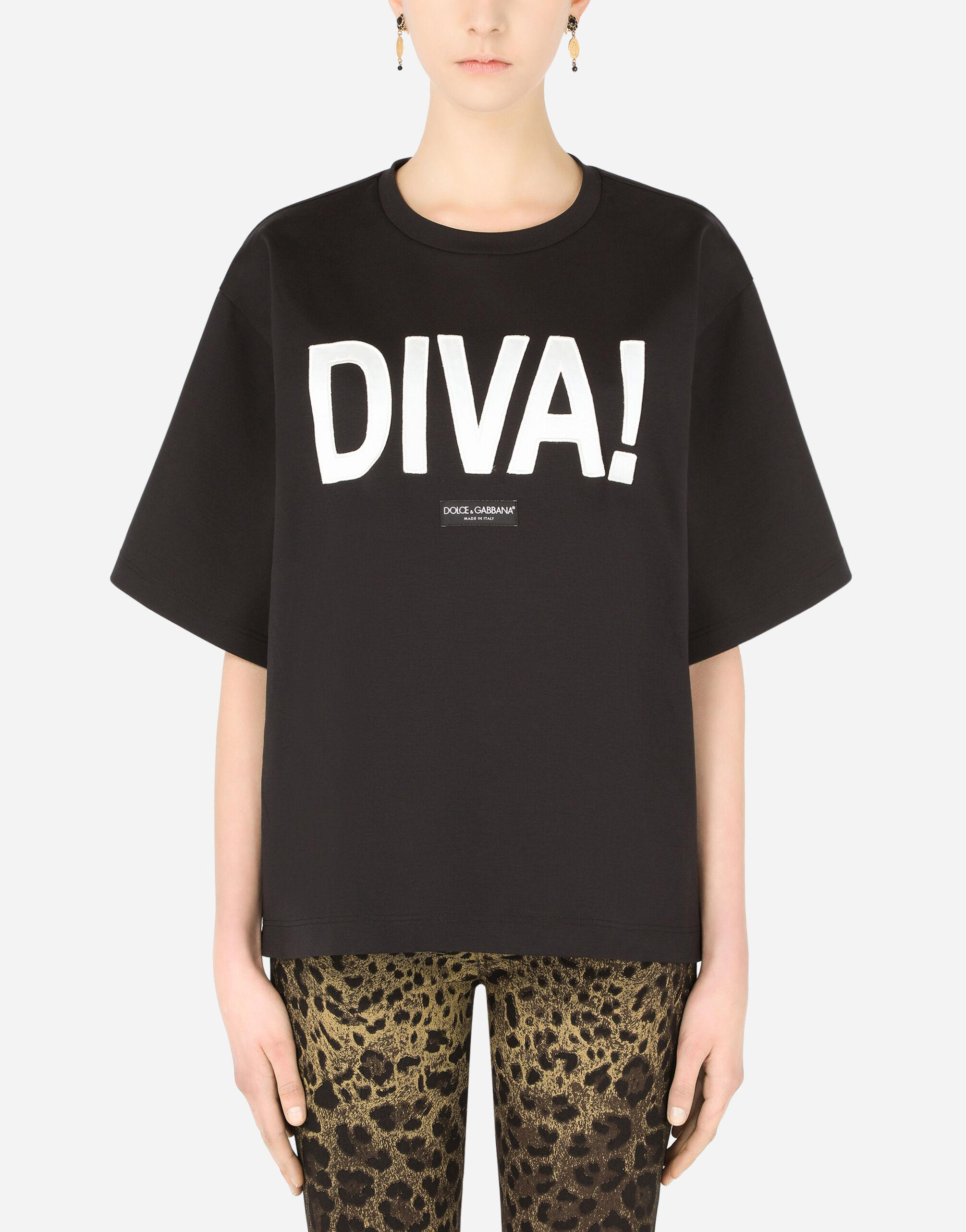 Jersey T-shirt with diva patch
