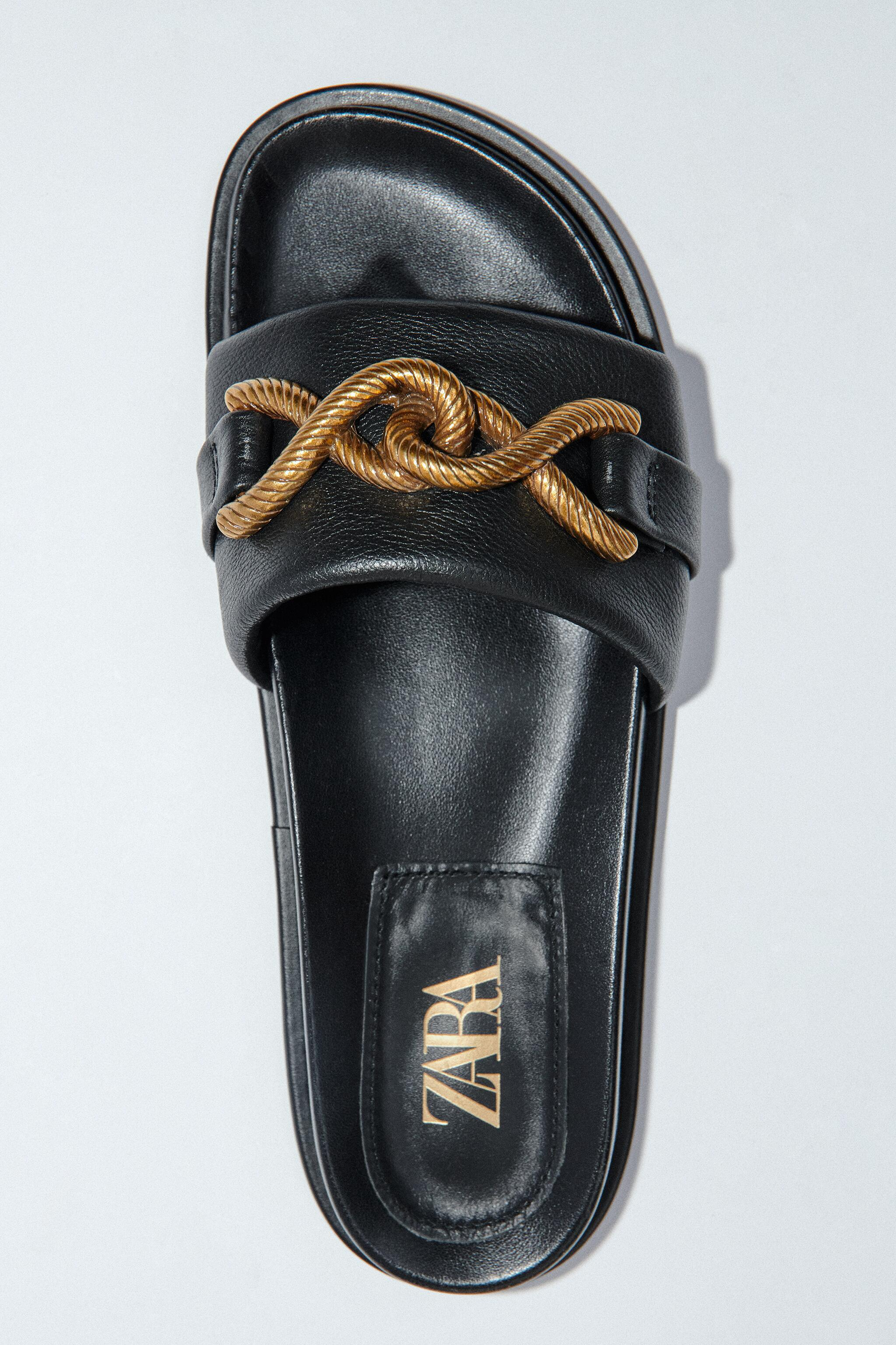 METAL BUCKLE FLAT LEATHER SANDALS 6